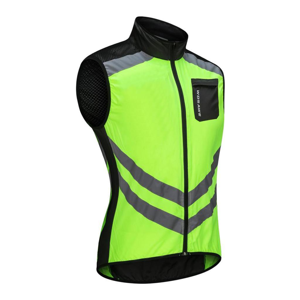 Mens Cycling Vest Reflective High Visibility Bike Jacket Windproof Gilet Jerseys