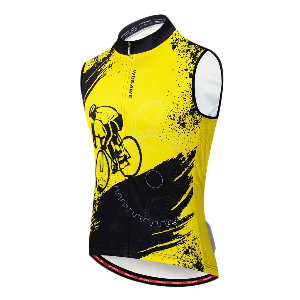 Mens Cycling Vest Windproof Bike Gilet Mesh Fabric Back Sleeveless Reflective