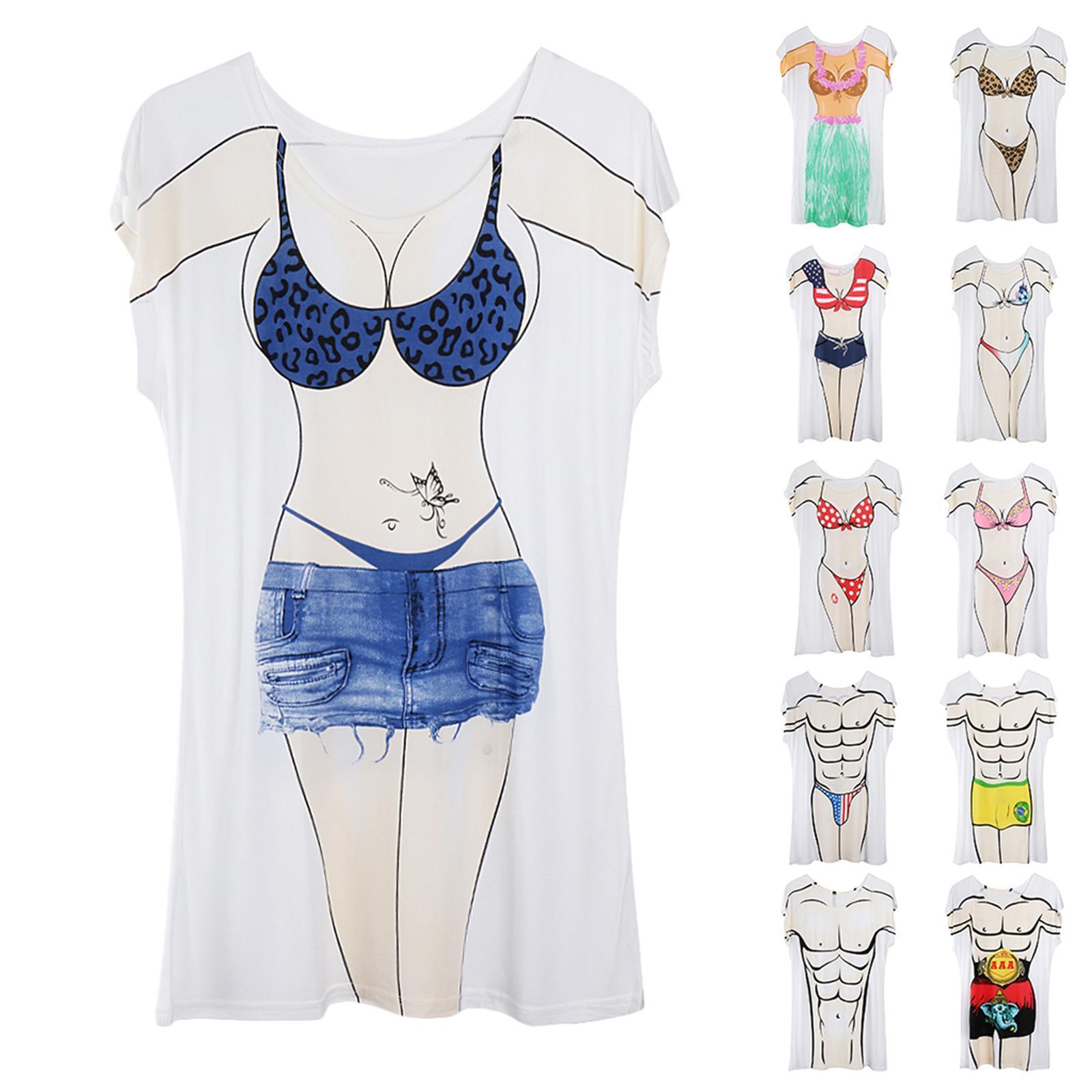 Womens-Bikini-Hawaiian-Summer-Beach-T-Shirt-Cover-Ups-Souvenir-Hen-Night-Pajamas thumbnail 62