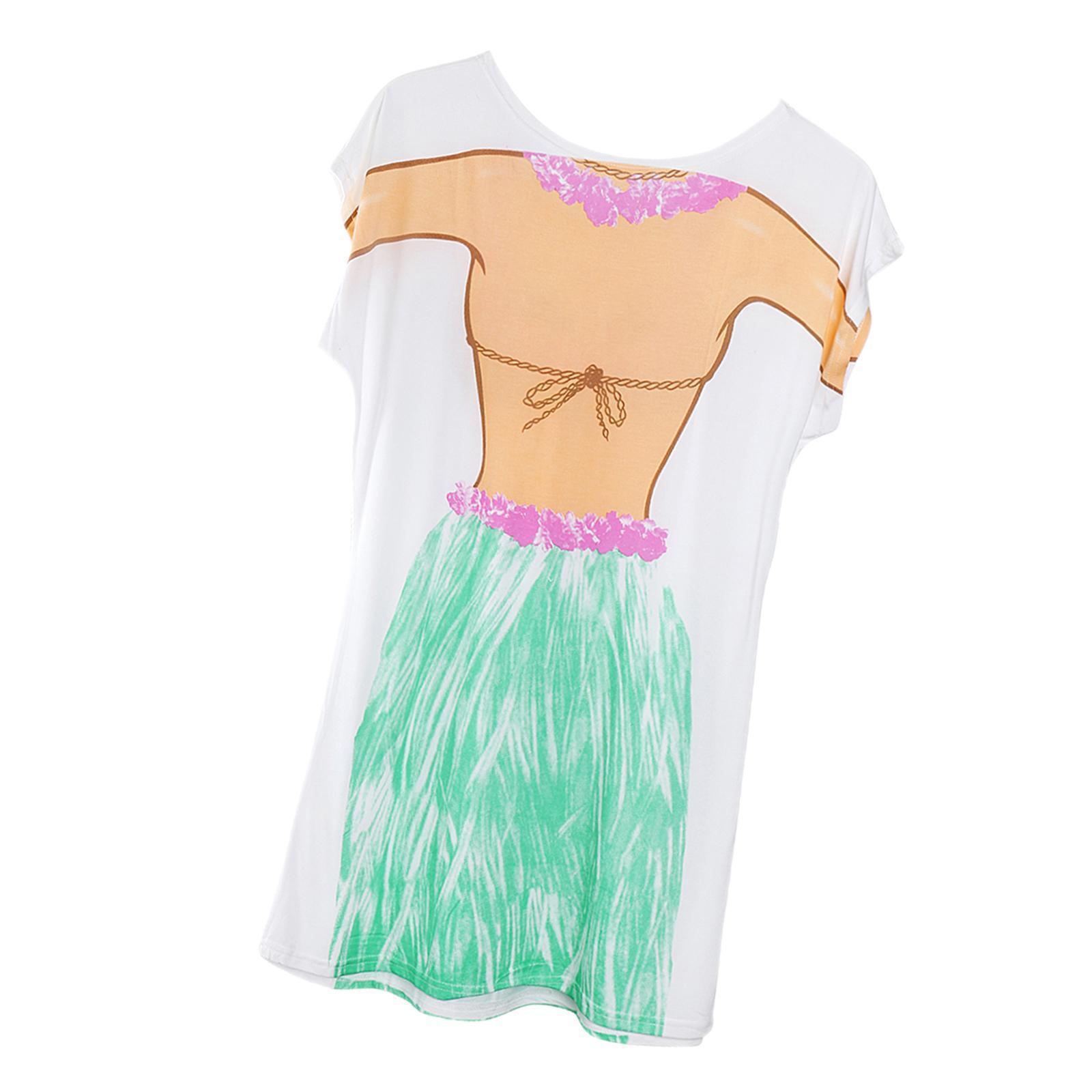 Womens-Bikini-Hawaiian-Summer-Beach-T-Shirt-Cover-Ups-Souvenir-Hen-Night-Pajamas thumbnail 58