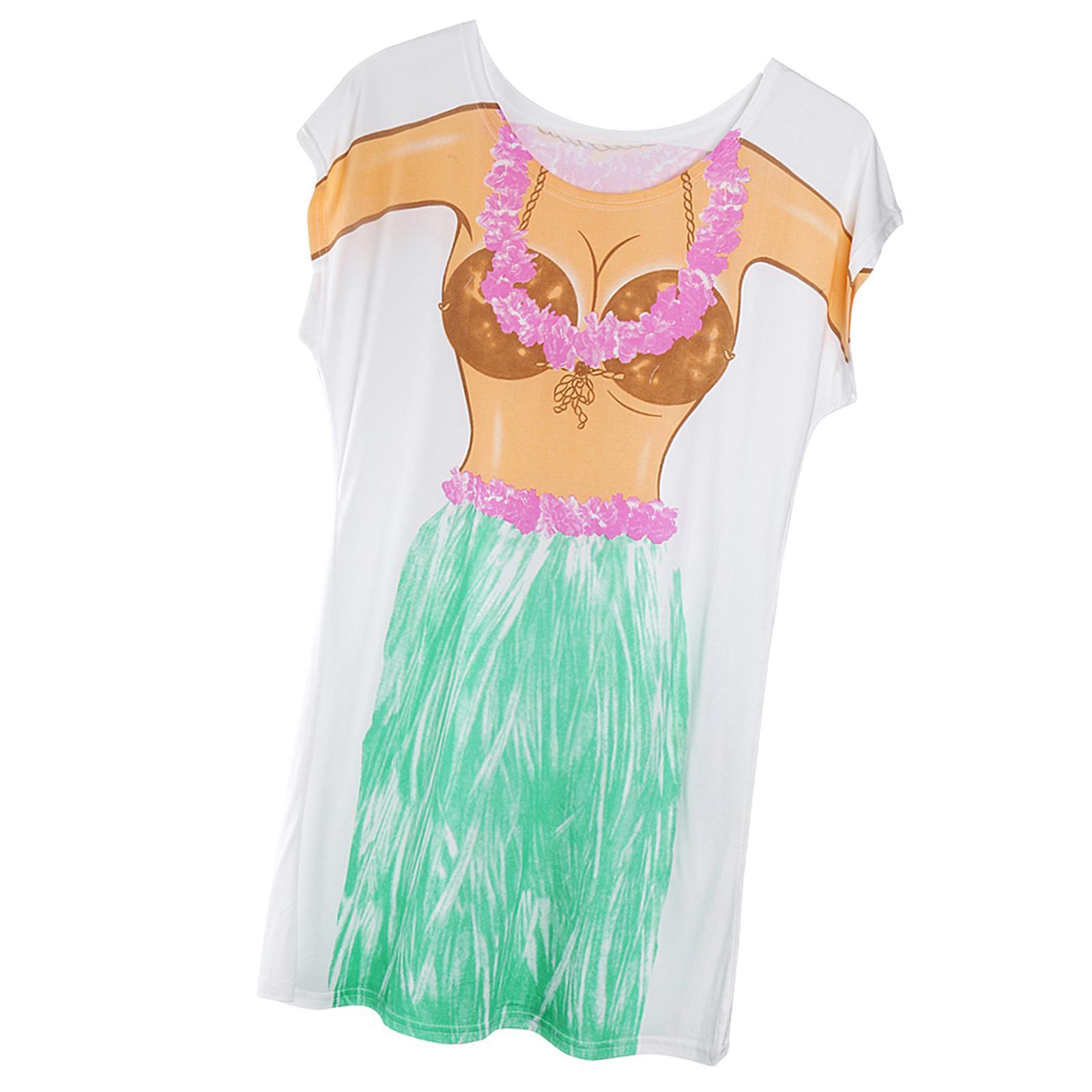 Womens-Bikini-Hawaiian-Summer-Beach-T-Shirt-Cover-Ups-Souvenir-Hen-Night-Pajamas thumbnail 59