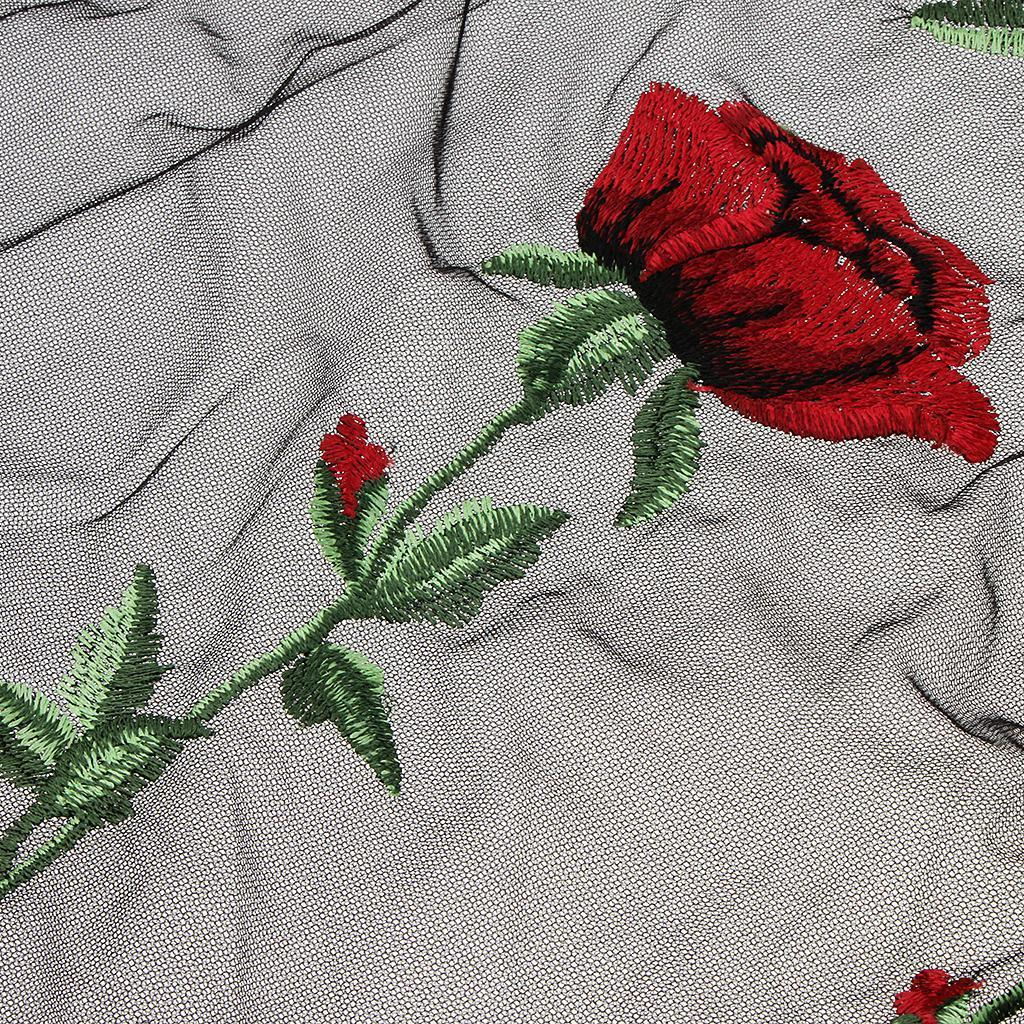 le-donne-sexy-sheer-nero-maglia-garza-t-shirt-ricamato-top-rose-pigiameria miniatura 5