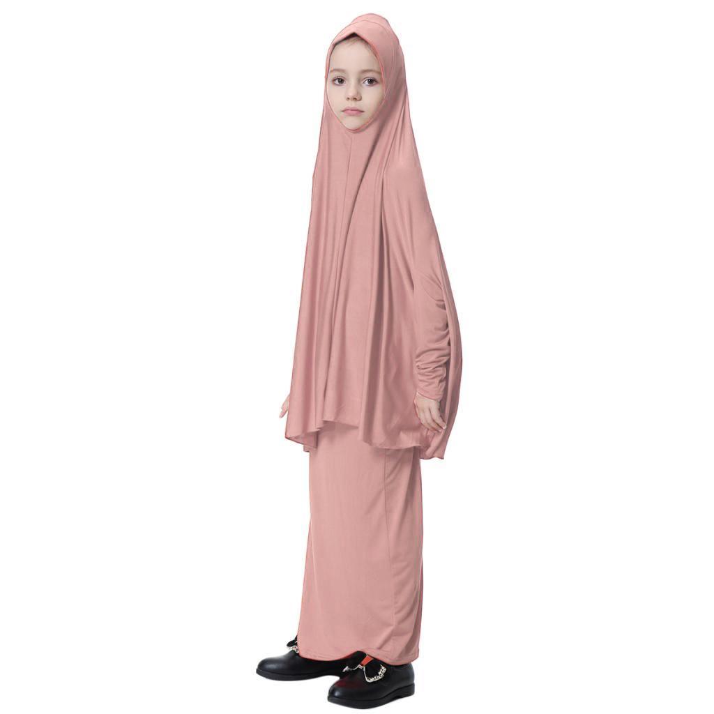 Fille-Robes-Musulmane-Islamique-a-Manches-Longues-Deux-Pieces-Priere-Robe miniature 11