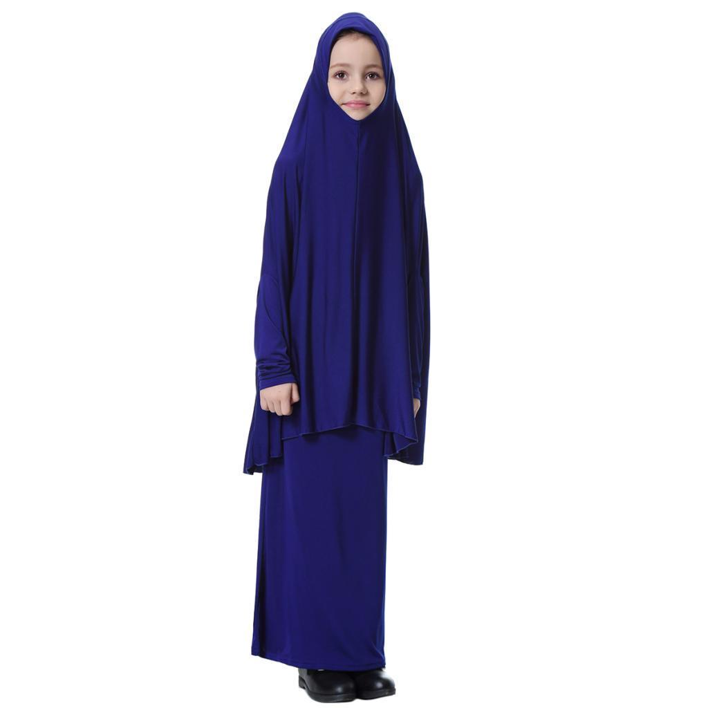 Fille-Robes-Musulmane-Islamique-a-Manches-Longues-Deux-Pieces-Priere-Robe miniature 25