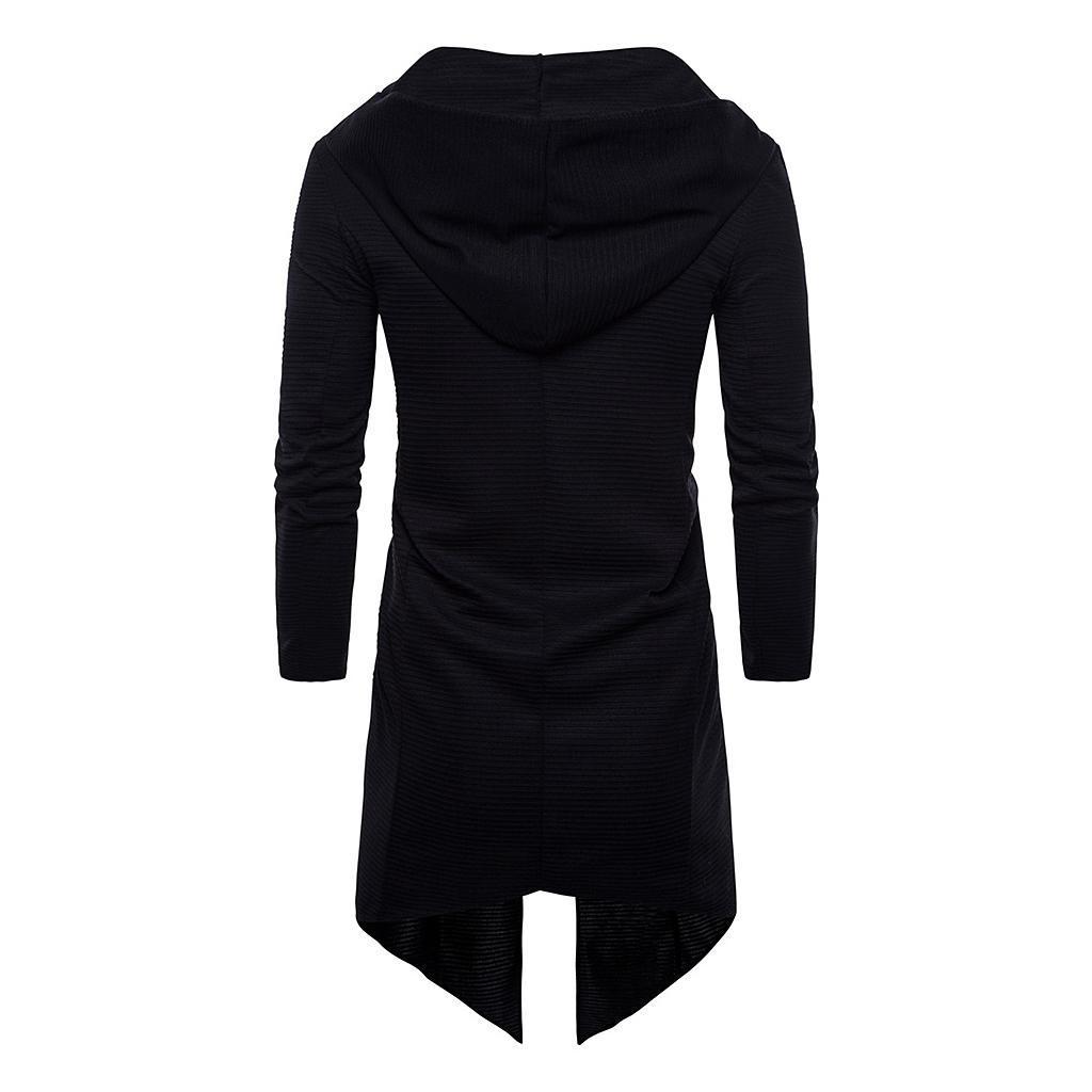 Mens-Cardigan-Hooded-Long-Cloak-Cape-Coat-Loose-Casual-Slim-Jacket-Hoodies thumbnail 4