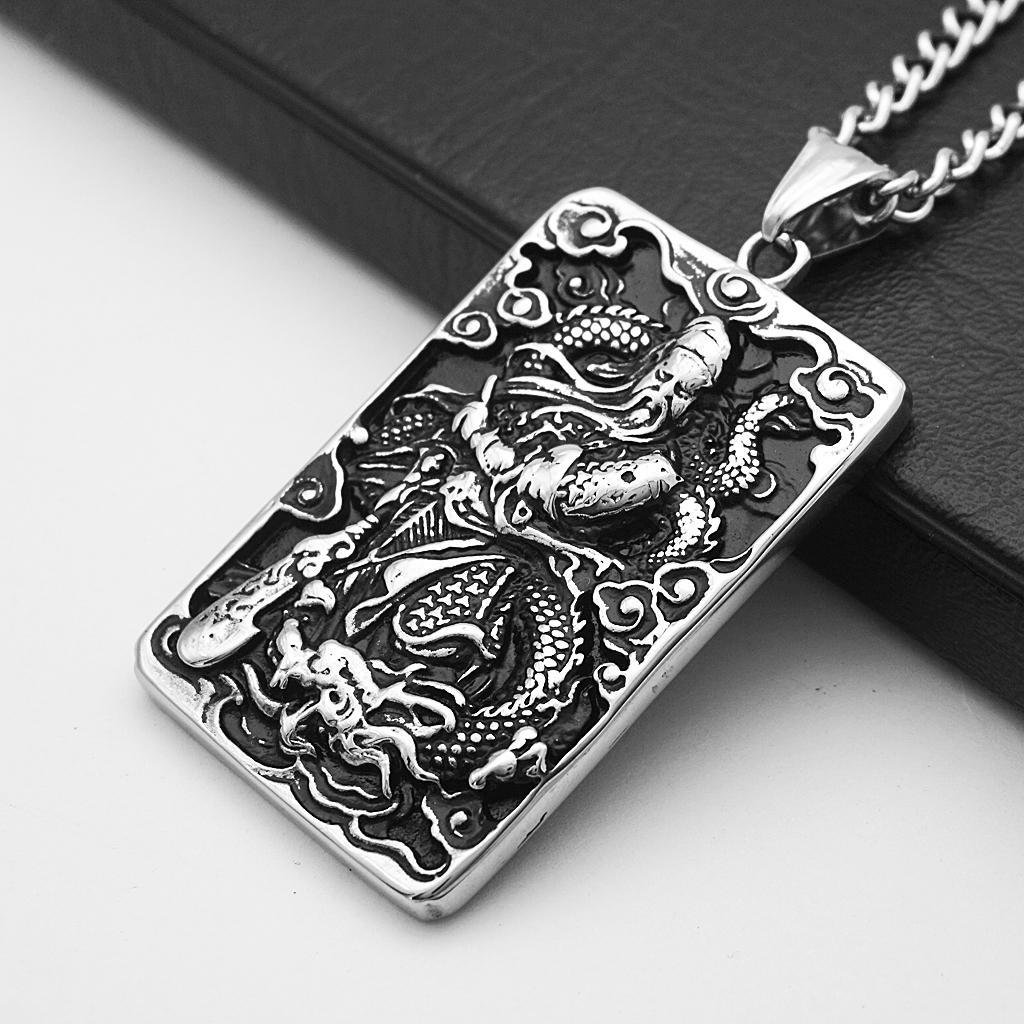 Mens-Stainless-Steel-Guan-Yu-Engraved-Hero-Pendant-Dog-Tag-Charms-Necklace thumbnail 6