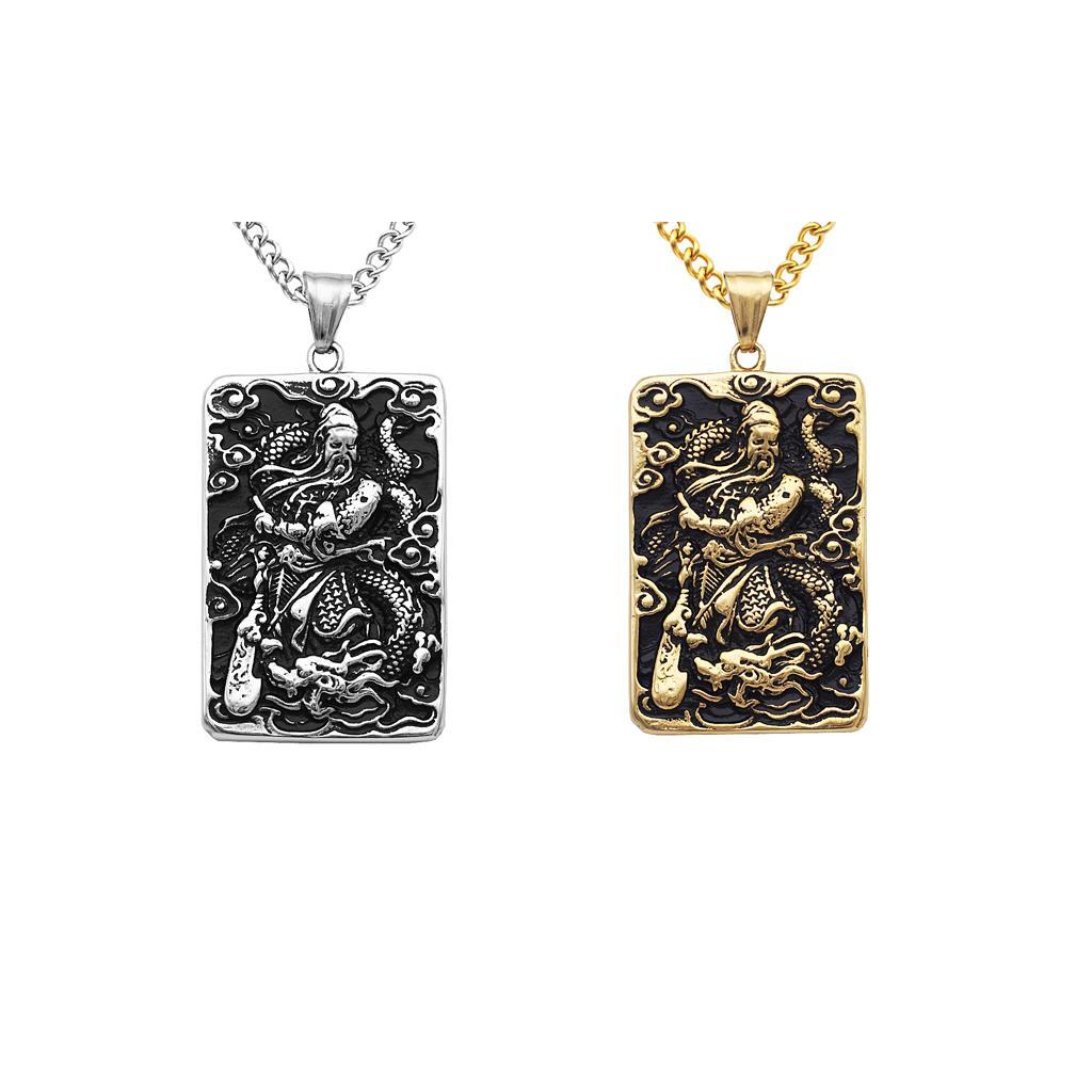 Mens-Stainless-Steel-Guan-Yu-Engraved-Hero-Pendant-Dog-Tag-Charms-Necklace thumbnail 7