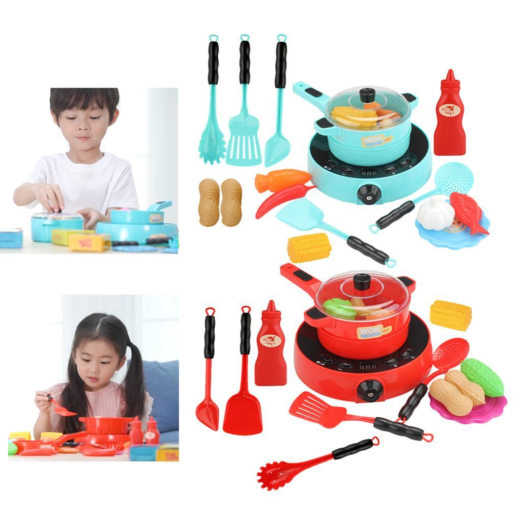 Details about Kids Pots and Induction Cooker Kitchen Play Food Sets  Children Toddlers Toys