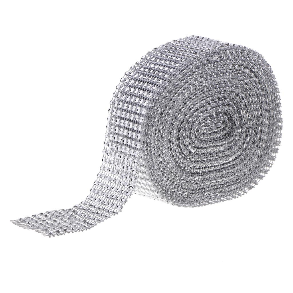 10 Yard 8 Rows Silver Diamond Mesh Wrap Roll Rhinestone Ribbon Sewing Trim Embellishment for Party Decoration, Wedding Cake, Art Craft 4cm Wide