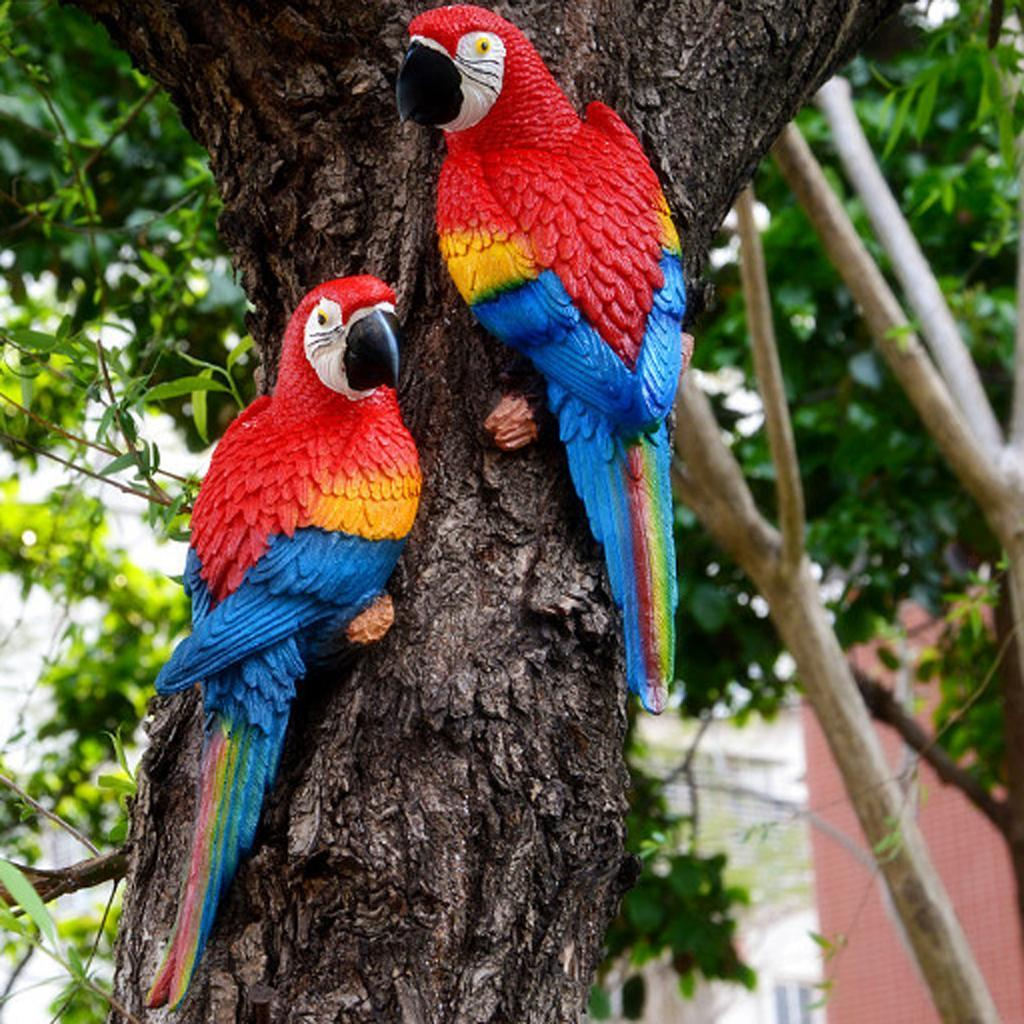 Home Decor Birds: Large Parrot Ornament Animal Model Toy Outdoor Garden Tree