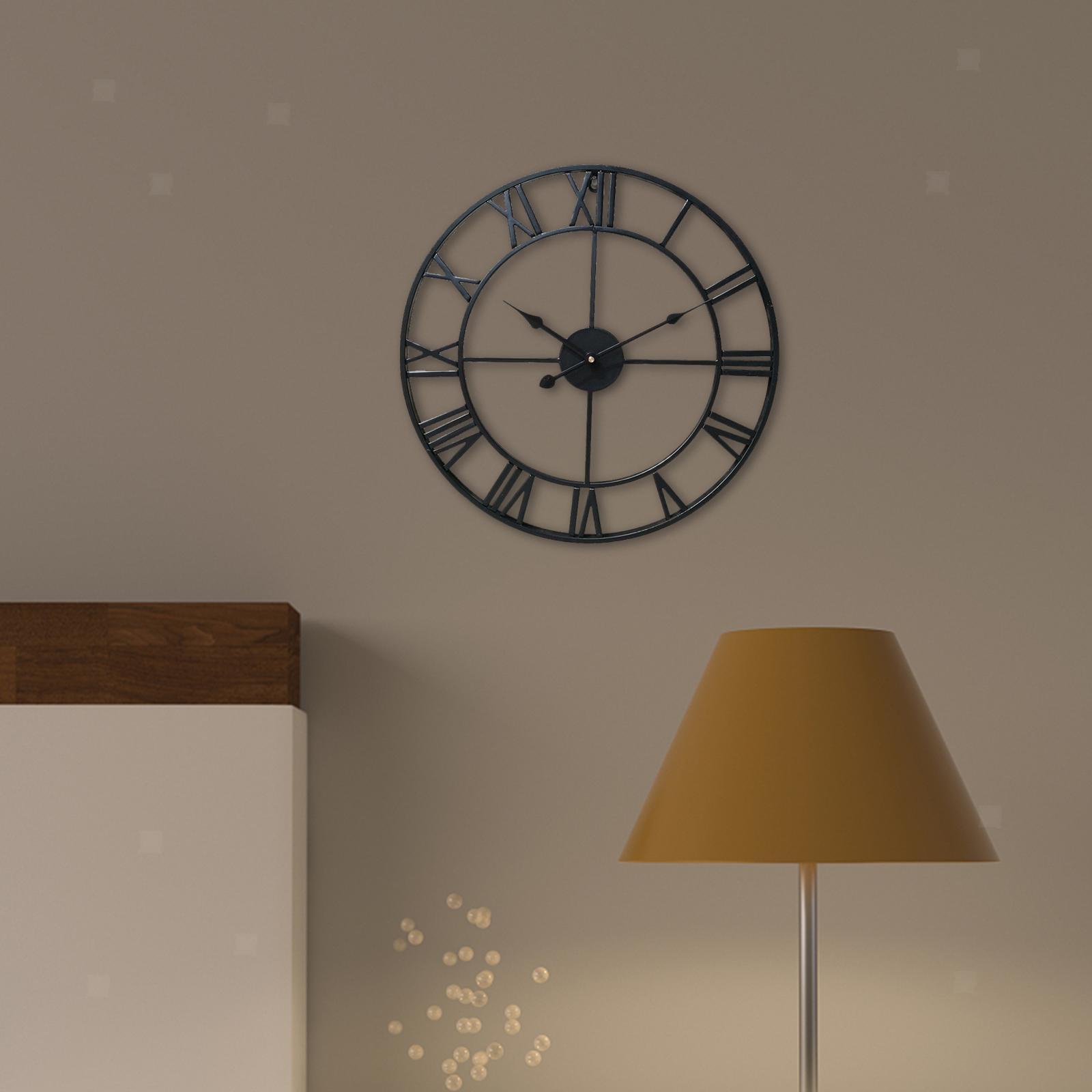 Vintage Round Retro Time Big Display Clock Mechanism Wall