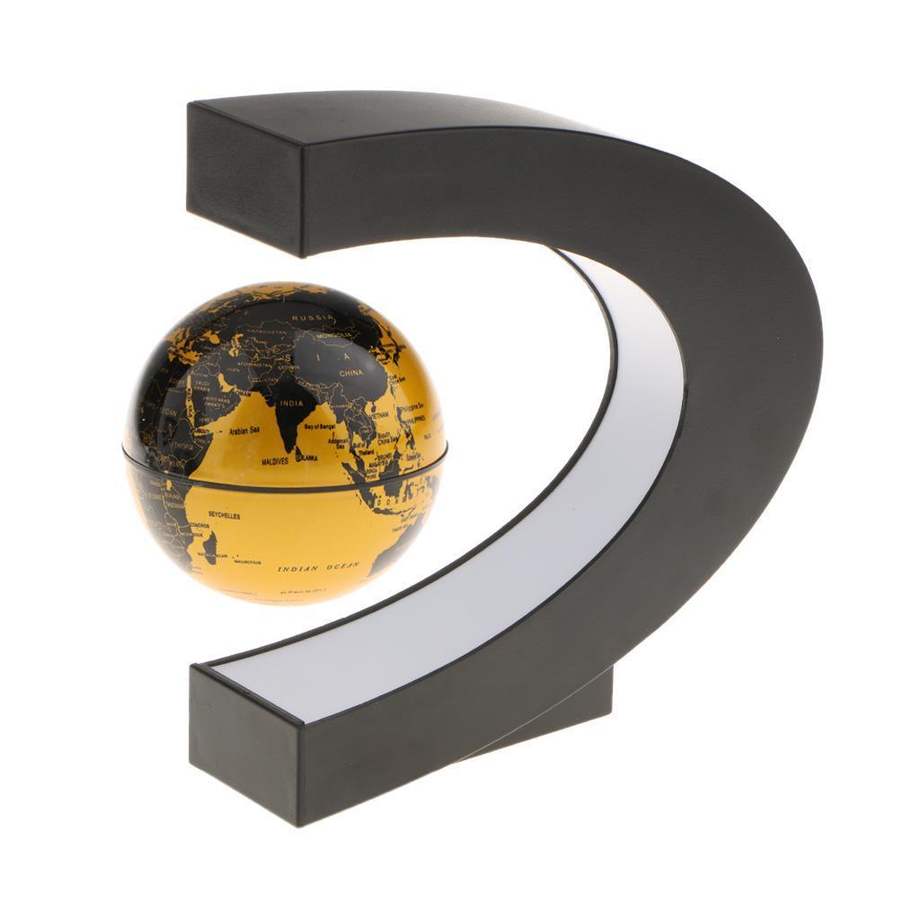 C-Shape-Magnetic-Levitation-Floating-World-Map-Globe-Rotating-LED-Light-EU thumbnail 13