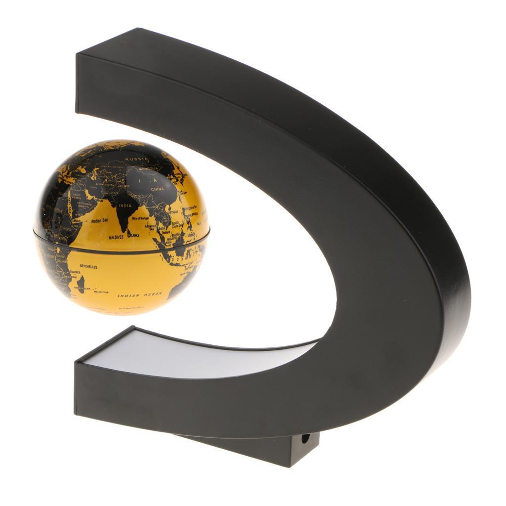 C-Shape-Magnetic-Levitation-Floating-World-Map-Globe-Rotating-LED-Light-EU thumbnail 14