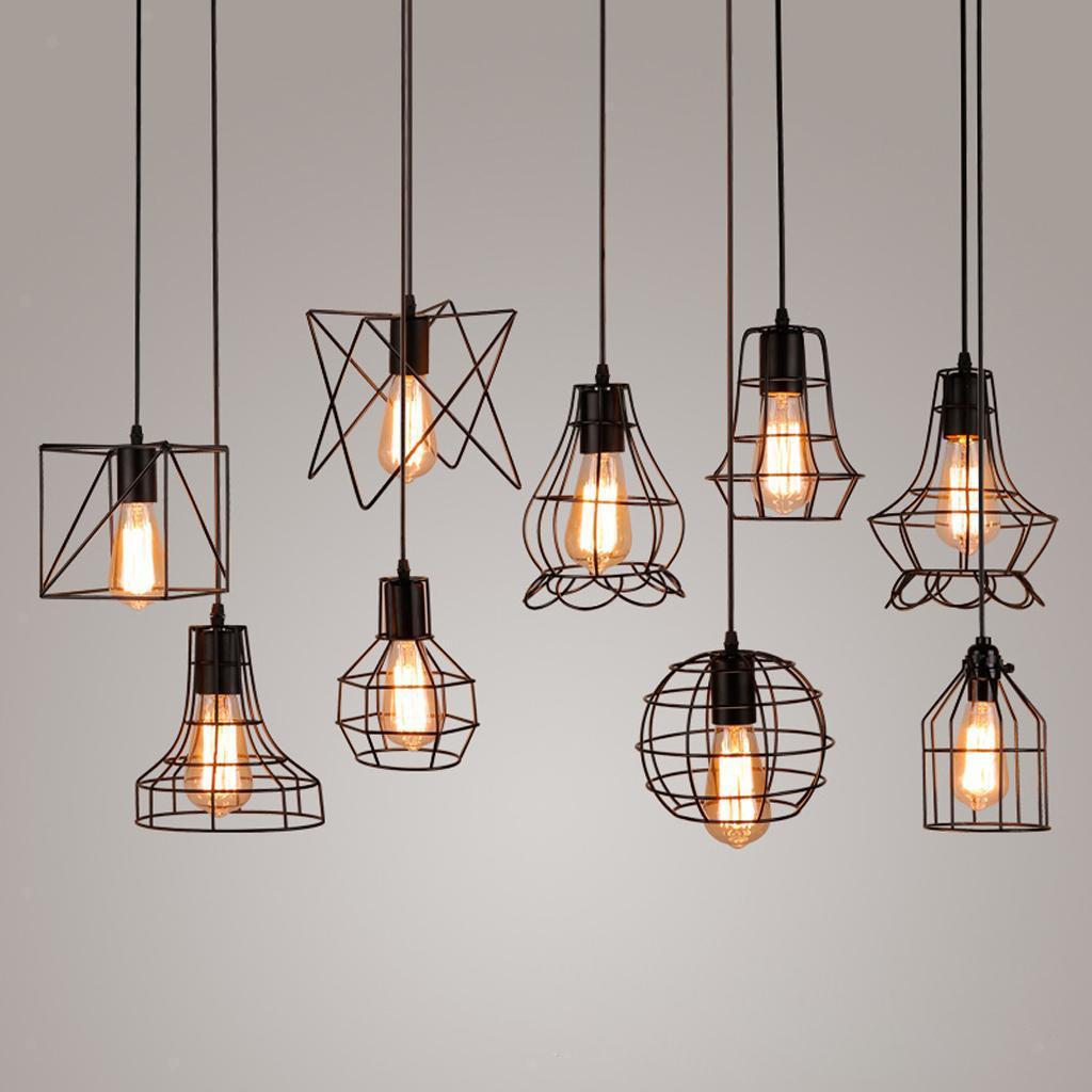 E27-Metal-Lampshade-Ceiling-Vintage-Retro-Chandelier-Fitting-LED-Pendant-Light thumbnail 5