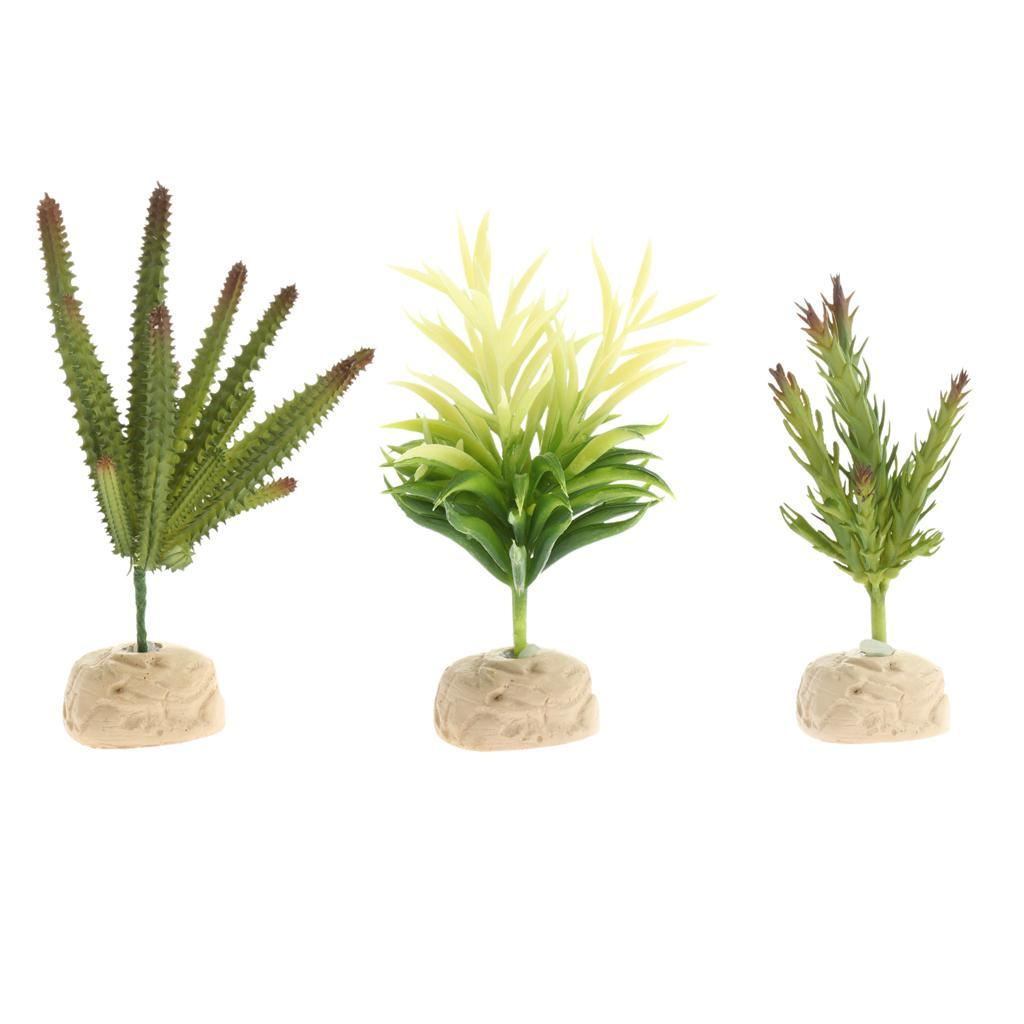 Artificiale-Acqua-Vegetale-Resina-Rifugio-Vivarium-Ornamento-Per-Rettile miniatura 4
