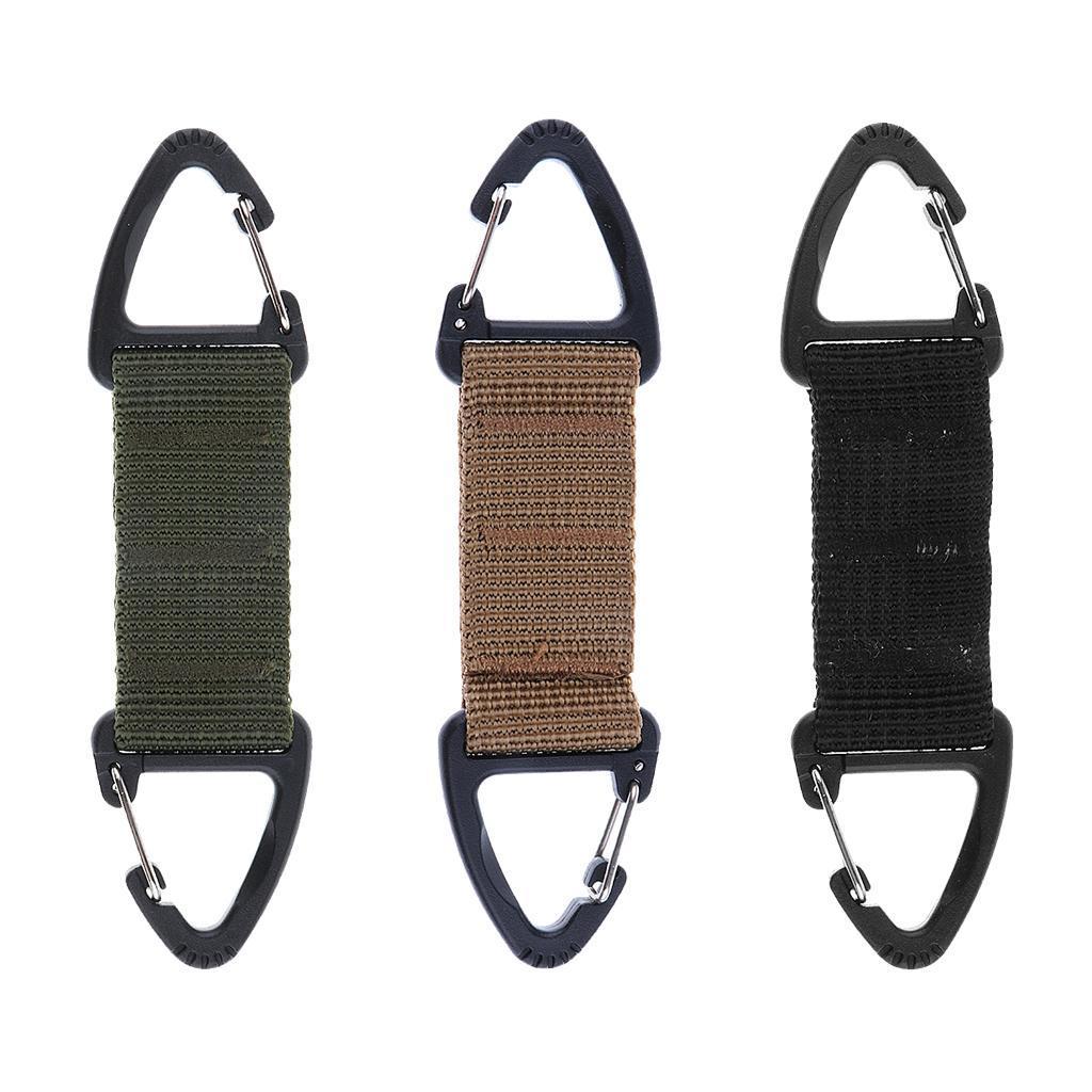 Outdoor Nylon Webbing Belt Double Ended Triangular Carabiner Clip Keychain