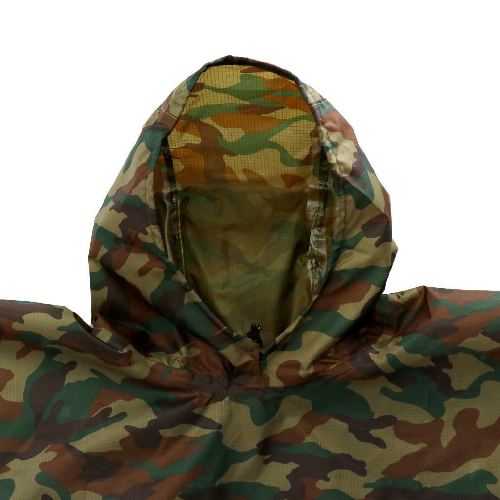 3 In 1 Waterproof Military Raincoat Poncho Outdoor Backpack Rain Tent Mat JD