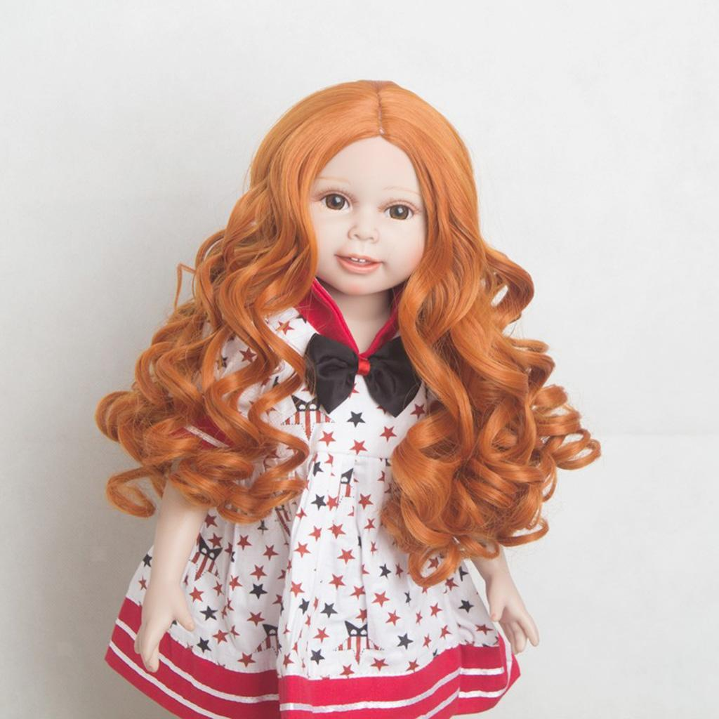 MagiDeal-Wavy-Curly-Hair-Wig-for-18inch-American-Doll-Doll-DIY-Making-Accessory thumbnail 7