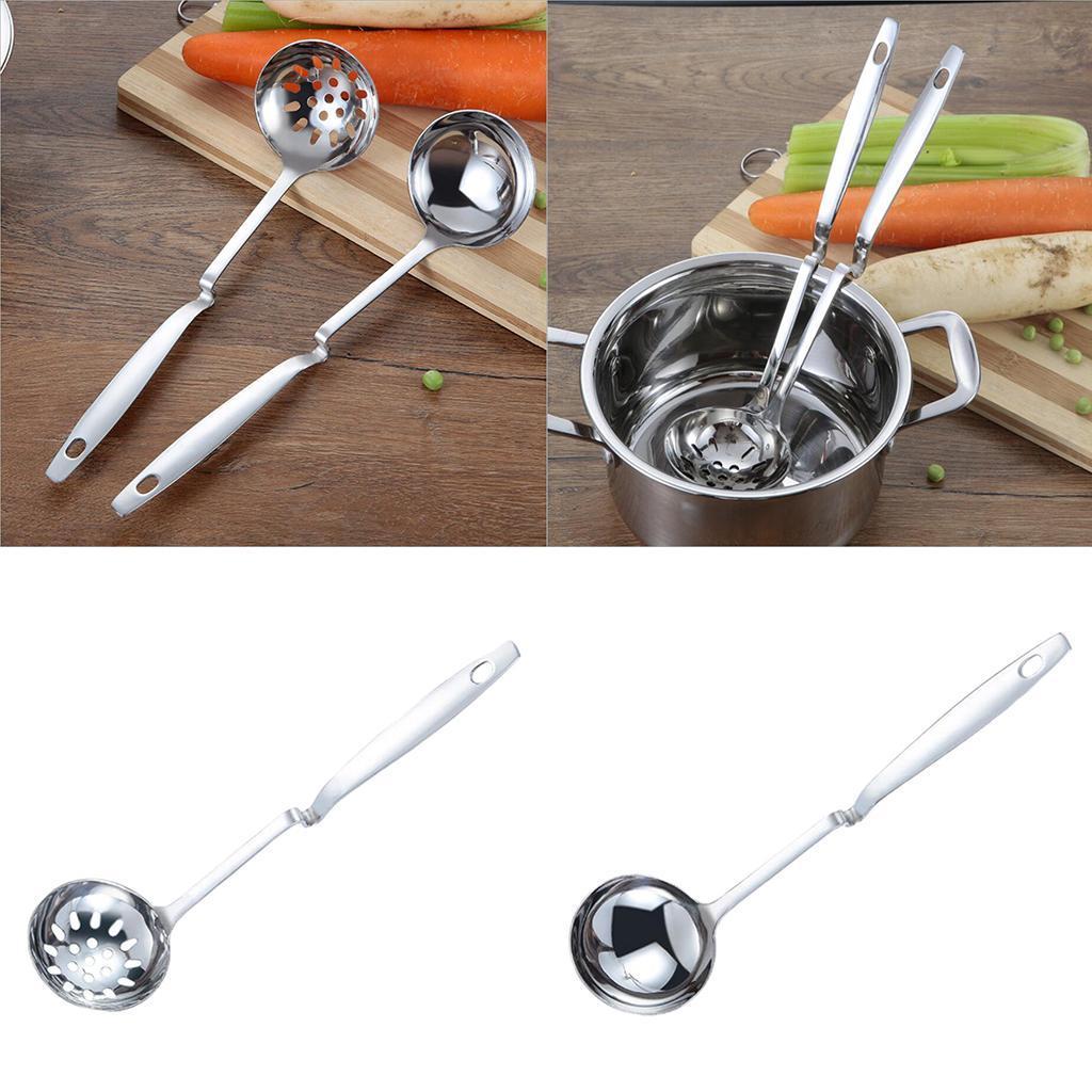 In-acciaio-inox-curvo-con-manico-grande-cucchiaio-da-minestra-mestolo-con miniatura 6