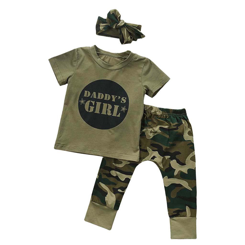 Bebe-Garcon-Fille-Camo-T-shirt-Hauts-Pantalons-Tenues-Ensemble-Vetements miniature 32
