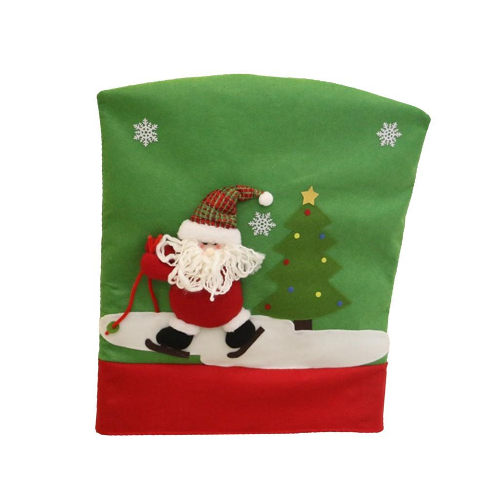 Santa Clause Christmas Dinner Banquet Chair Back Cover