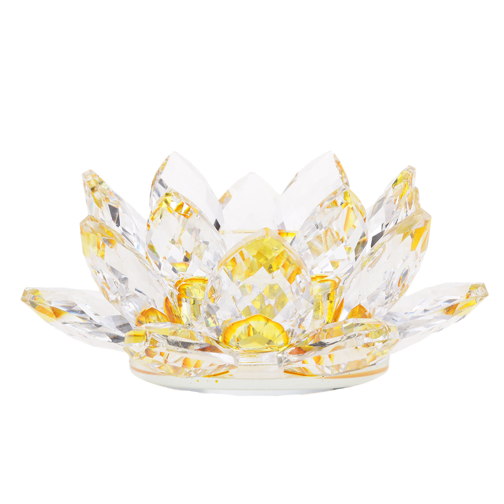 2Pcs-Buddhist-Crystal-Glass-Lotus-Candle-Holder-Decor-12x5cm-Home-Decoration thumbnail 3