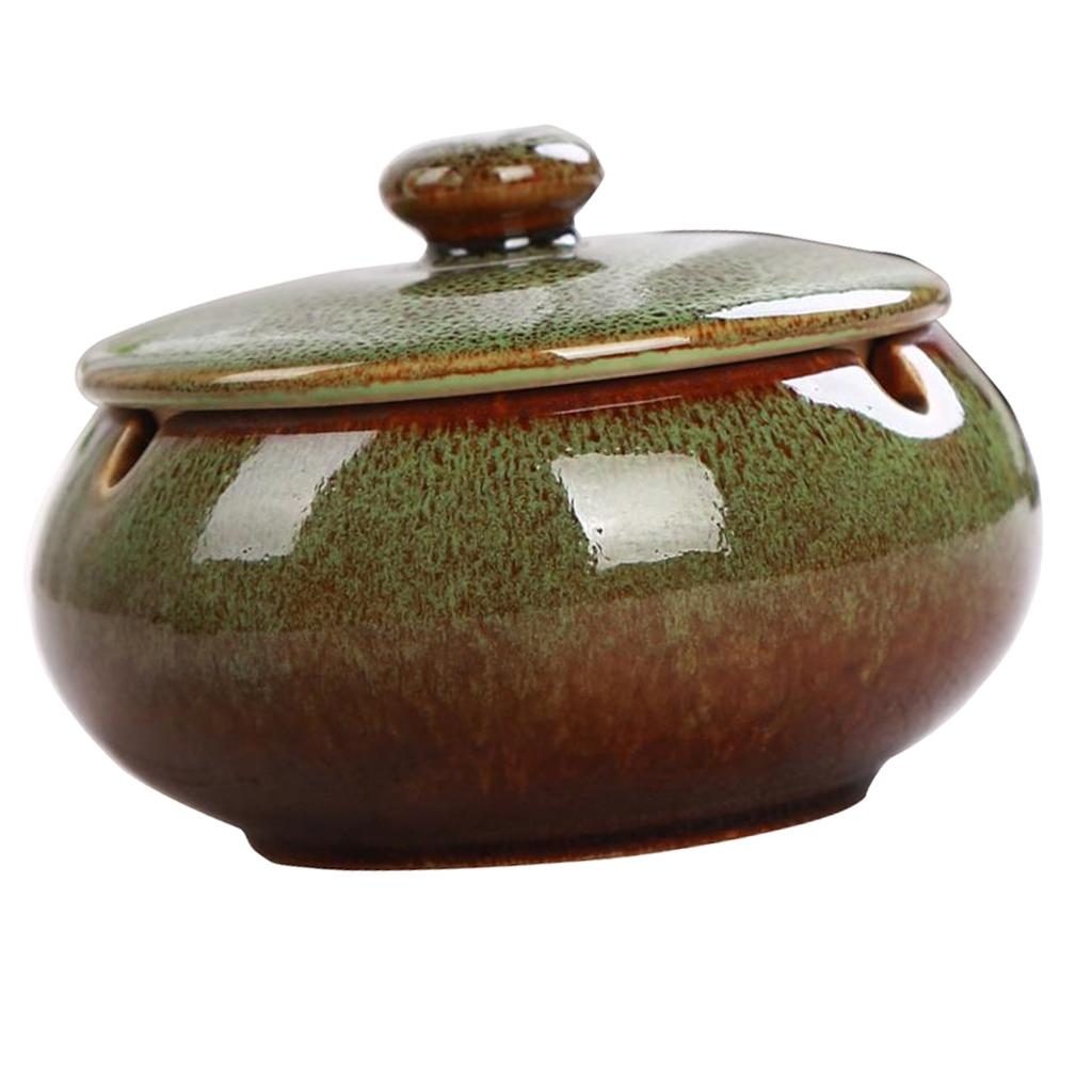 Retro Style Ashtray Ceramics Ashtray with Lid for Indoor and Outdoor Use