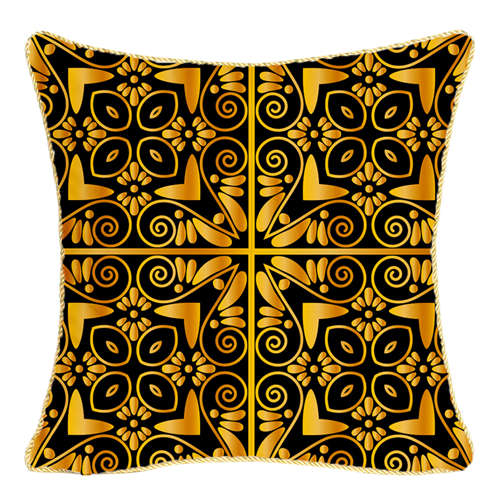 Square-Flannel-Pillowcase-Three-Stranded-Rope-Gold-Trimmed-Covers-Zipper miniature 3