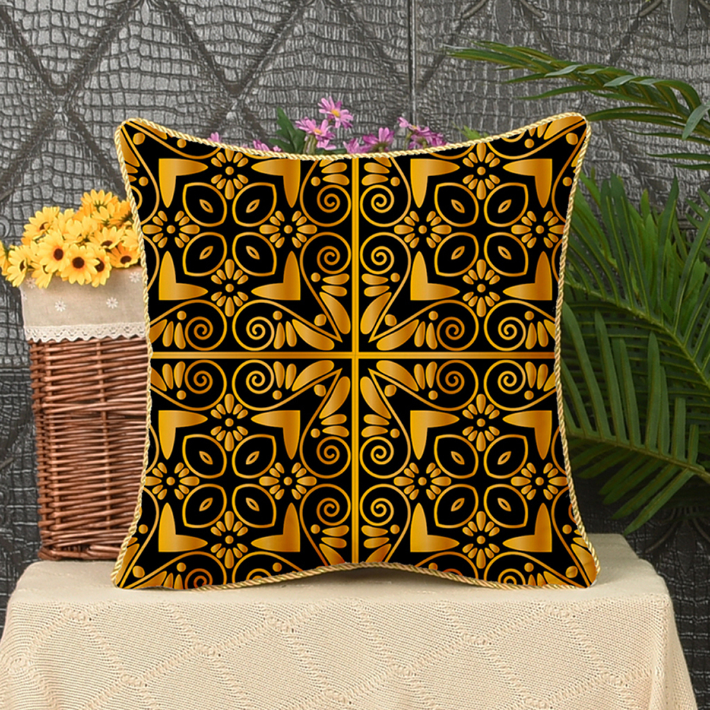 Square-Flannel-Pillowcase-Three-Stranded-Rope-Gold-Trimmed-Covers-Zipper miniature 4