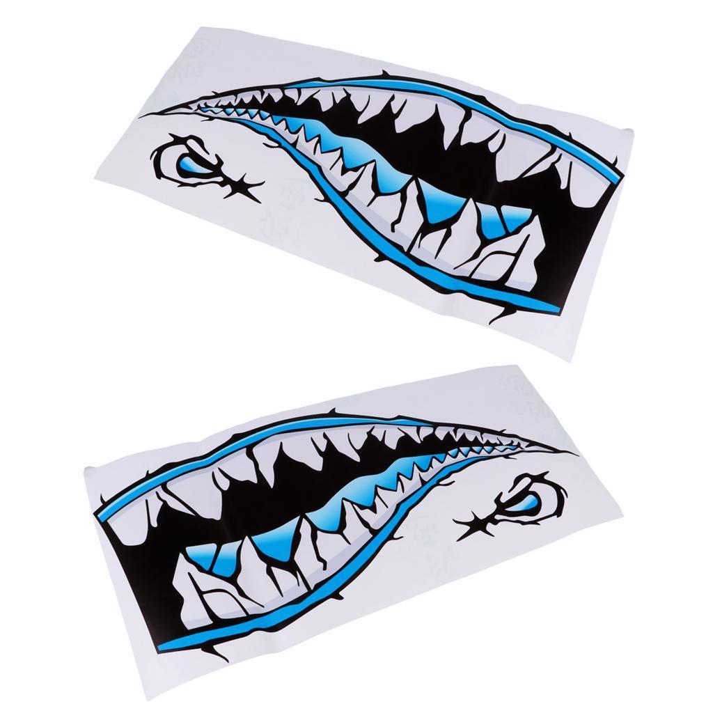 2x Shark Teeth Mouth Decals Sticker Kayak Car Truck