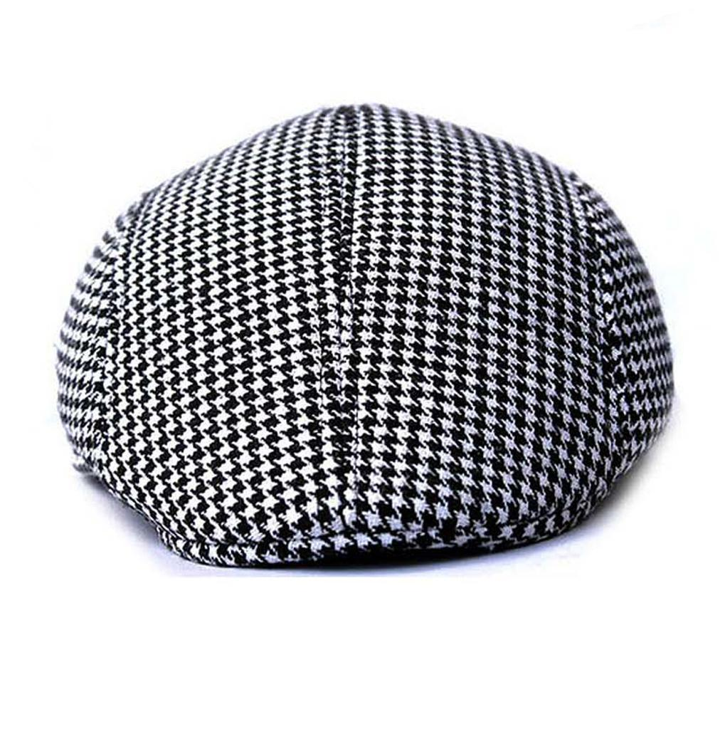 Garcon-Filles-Baseball-Beret-Casquette-Flat-Peaked-Toddler-Houndstooth-Cap-Decor miniature 19
