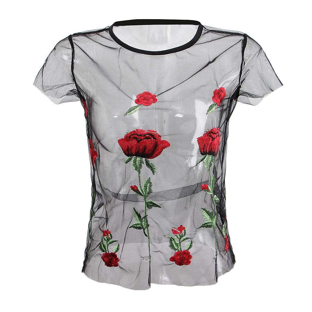 le-donne-sexy-sheer-nero-maglia-garza-t-shirt-ricamato-top-rose-pigiameria miniatura 8