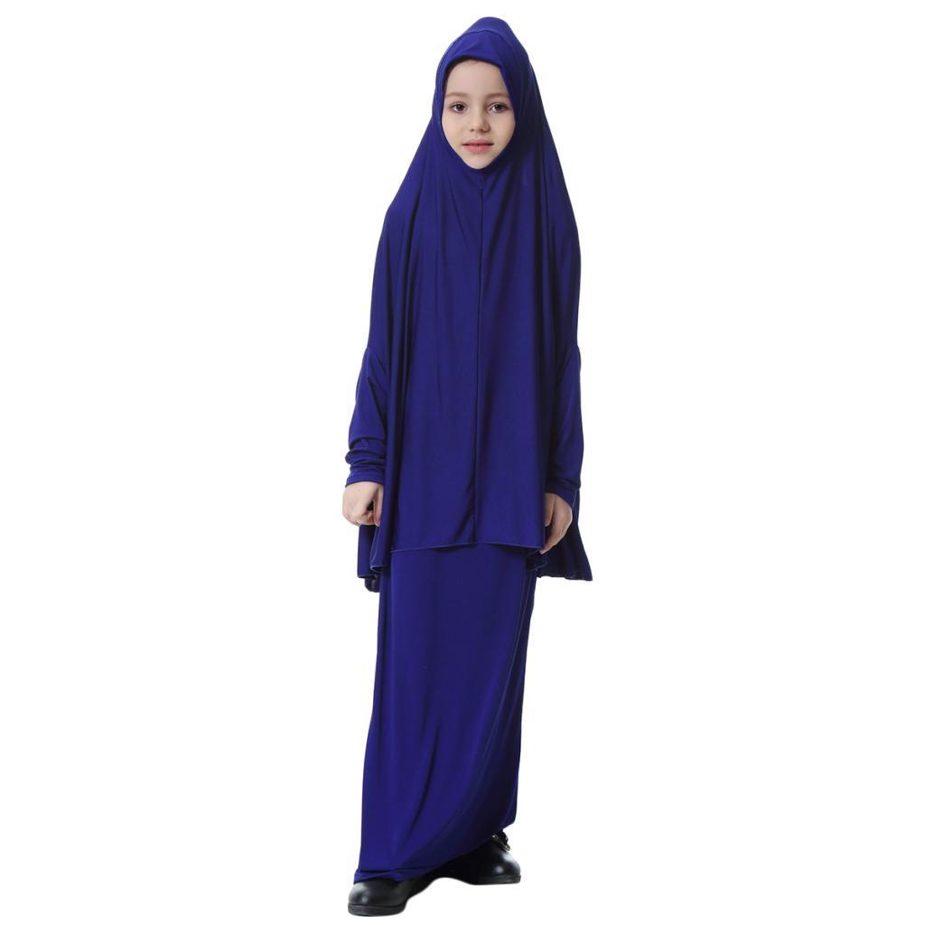 Fille-Robes-Musulmane-Islamique-a-Manches-Longues-Deux-Pieces-Priere-Robe miniature 27