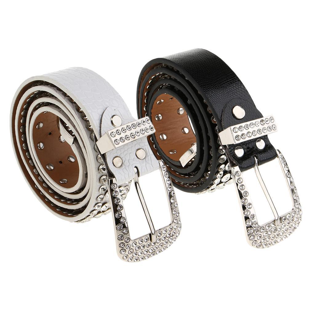 Cintura-Pelle-Con-Strass-Lega-Fibbia-Elegante-Accessorio-Donna-Per-Feste miniatura 6