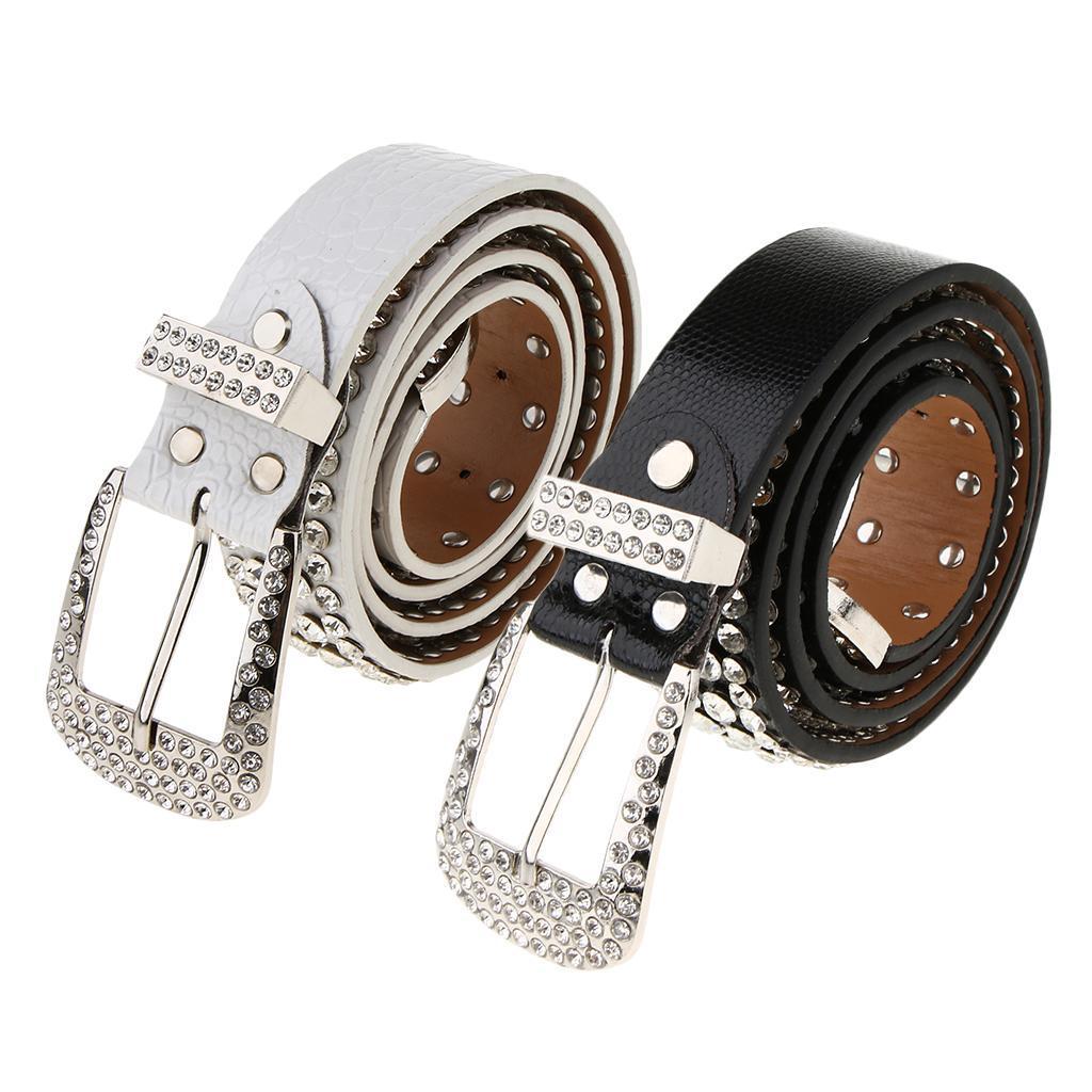 Cintura-Pelle-Con-Strass-Lega-Fibbia-Elegante-Accessorio-Donna-Per-Feste miniatura 5