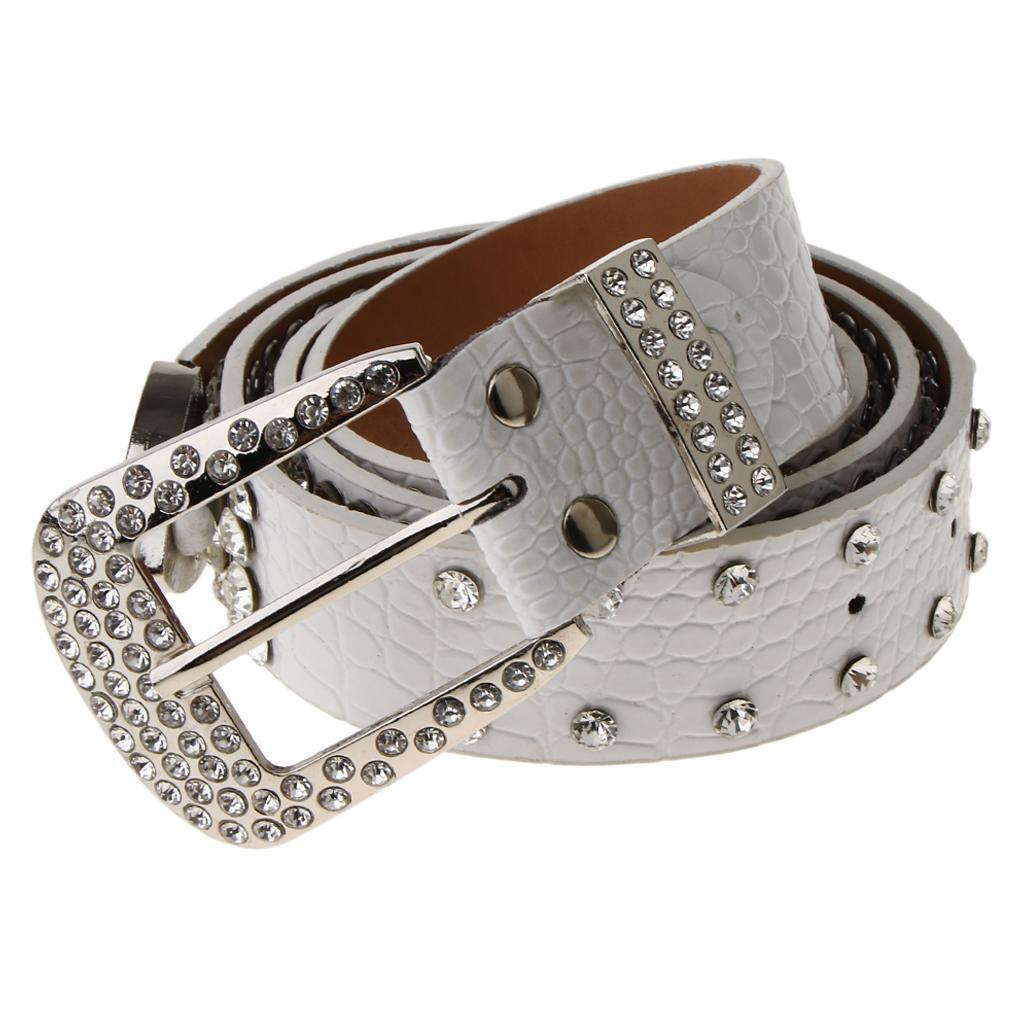 Cintura-Pelle-Con-Strass-Lega-Fibbia-Elegante-Accessorio-Donna-Per-Feste miniatura 3