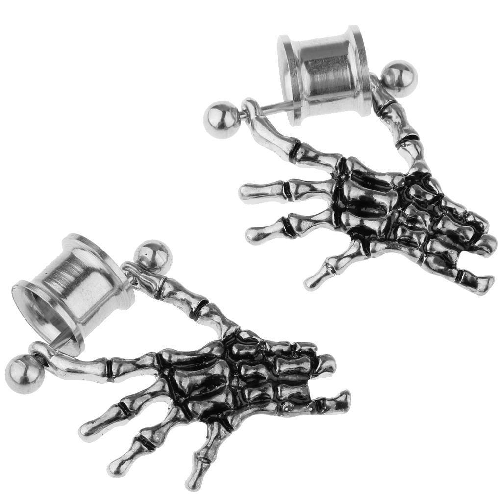 2-pezzi-in-acciaio-inox-scheletro-mano-tappi-per-orecchie-expander-calibri miniatura 15