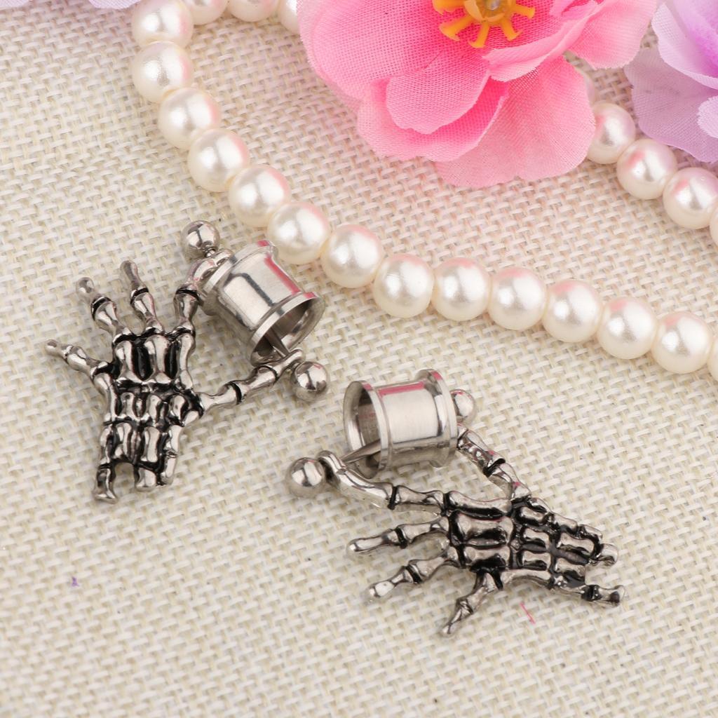 2-pezzi-in-acciaio-inox-scheletro-mano-tappi-per-orecchie-expander-calibri miniatura 12