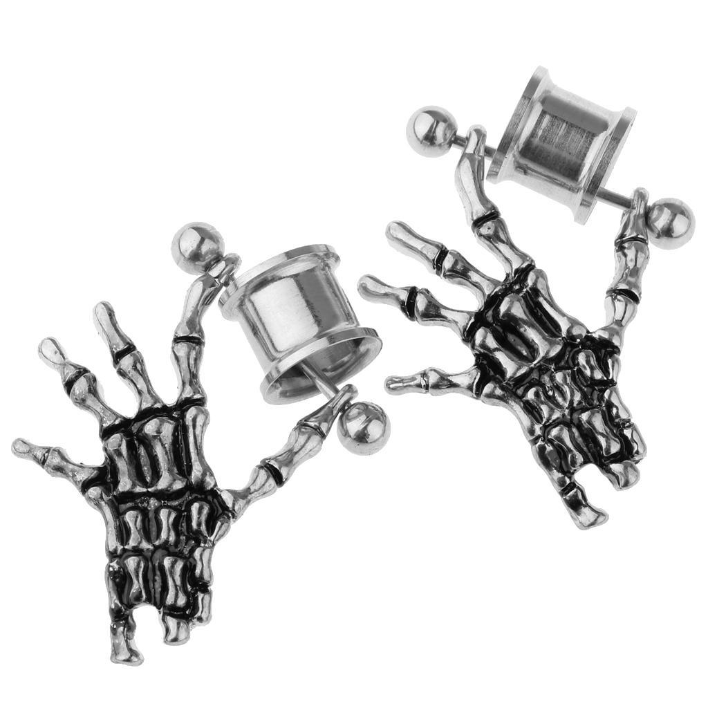 2-pezzi-in-acciaio-inox-scheletro-mano-tappi-per-orecchie-expander-calibri miniatura 13