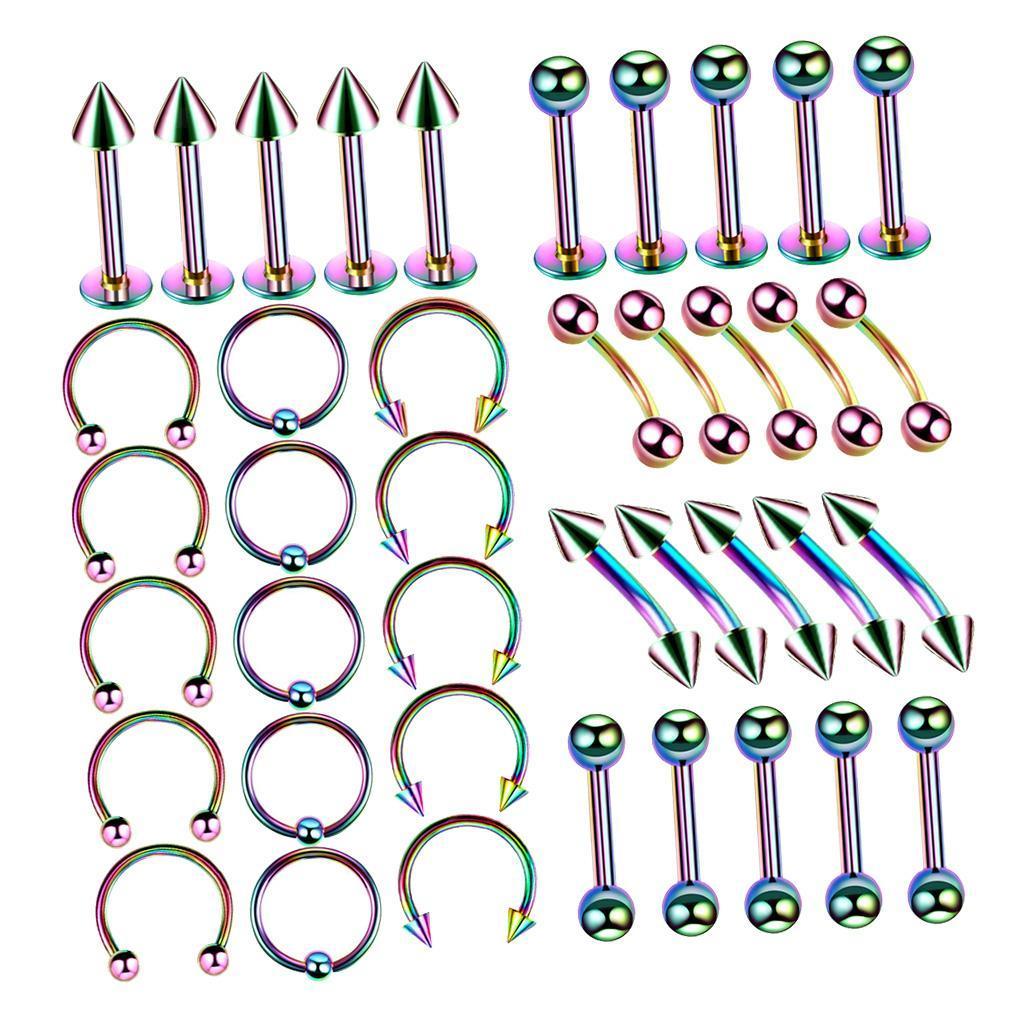 40Pcs-Body-Piercing-Kit-16G-Nose-Ring-Horseshoe-Lip-Tongue-Eyebrow-Tragus miniature 3