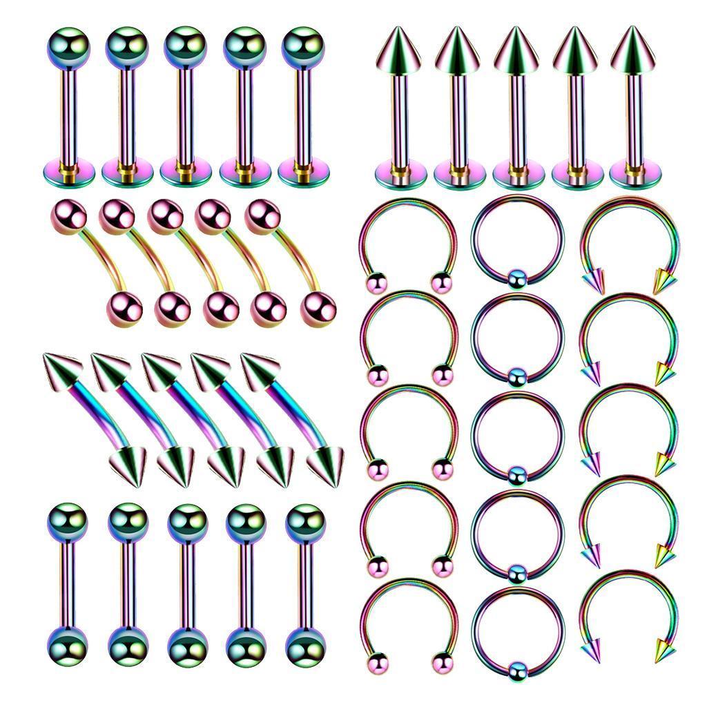 40Pcs-Body-Piercing-Kit-16G-Nose-Ring-Horseshoe-Lip-Tongue-Eyebrow-Tragus miniature 4