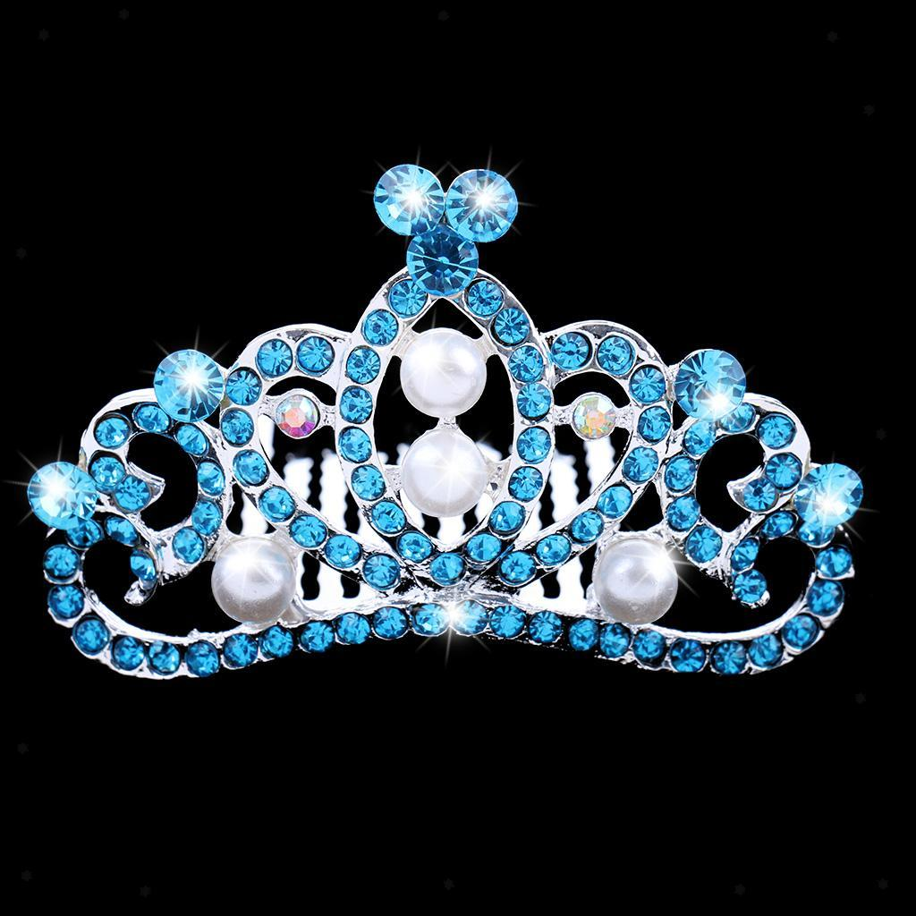 Crystal-Mini-Crown-Tiara-Girls-Woman-Fancy-Dress-Hair-Comb-Wedding-Party-Gift thumbnail 3