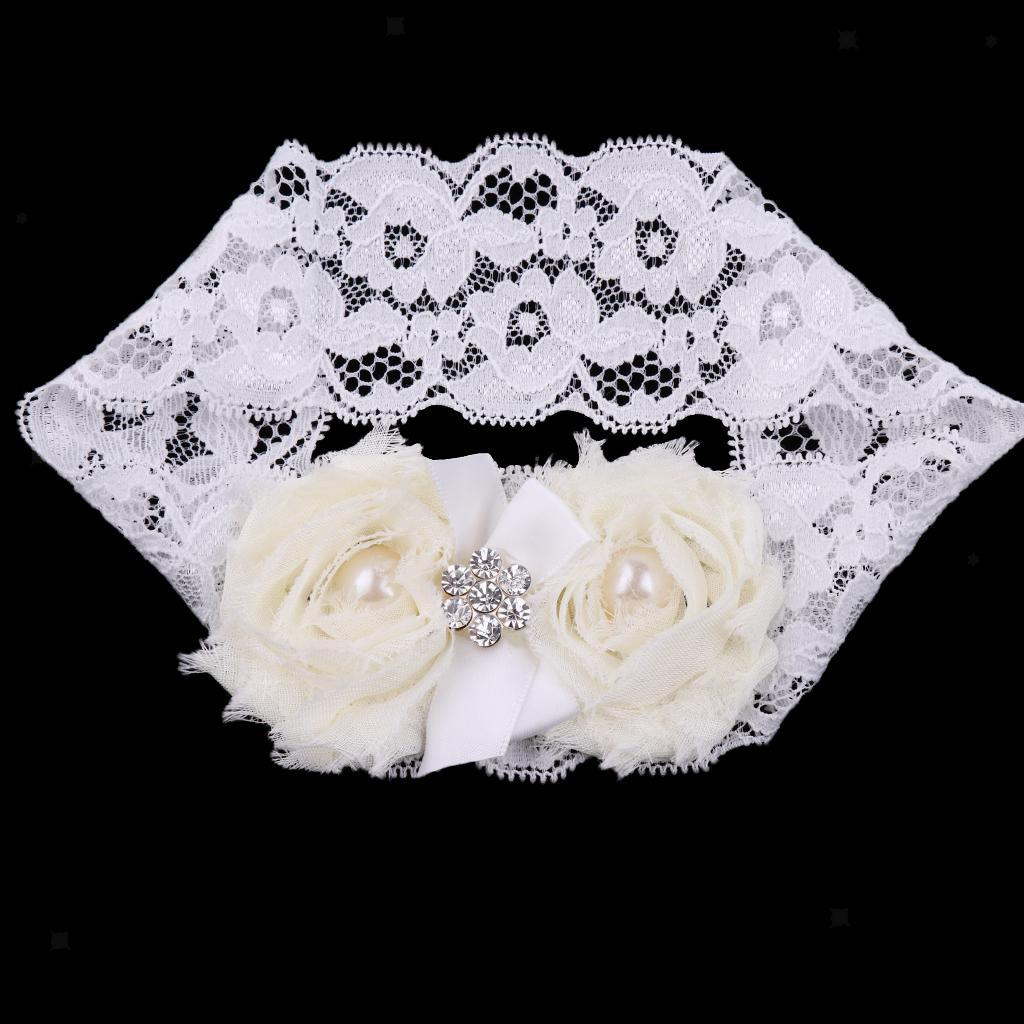 Wedding-Bride-Keepsake-Lace-Pearl-Crystal-Rose-Flower-Bridal-Garter-White-Brown thumbnail 6