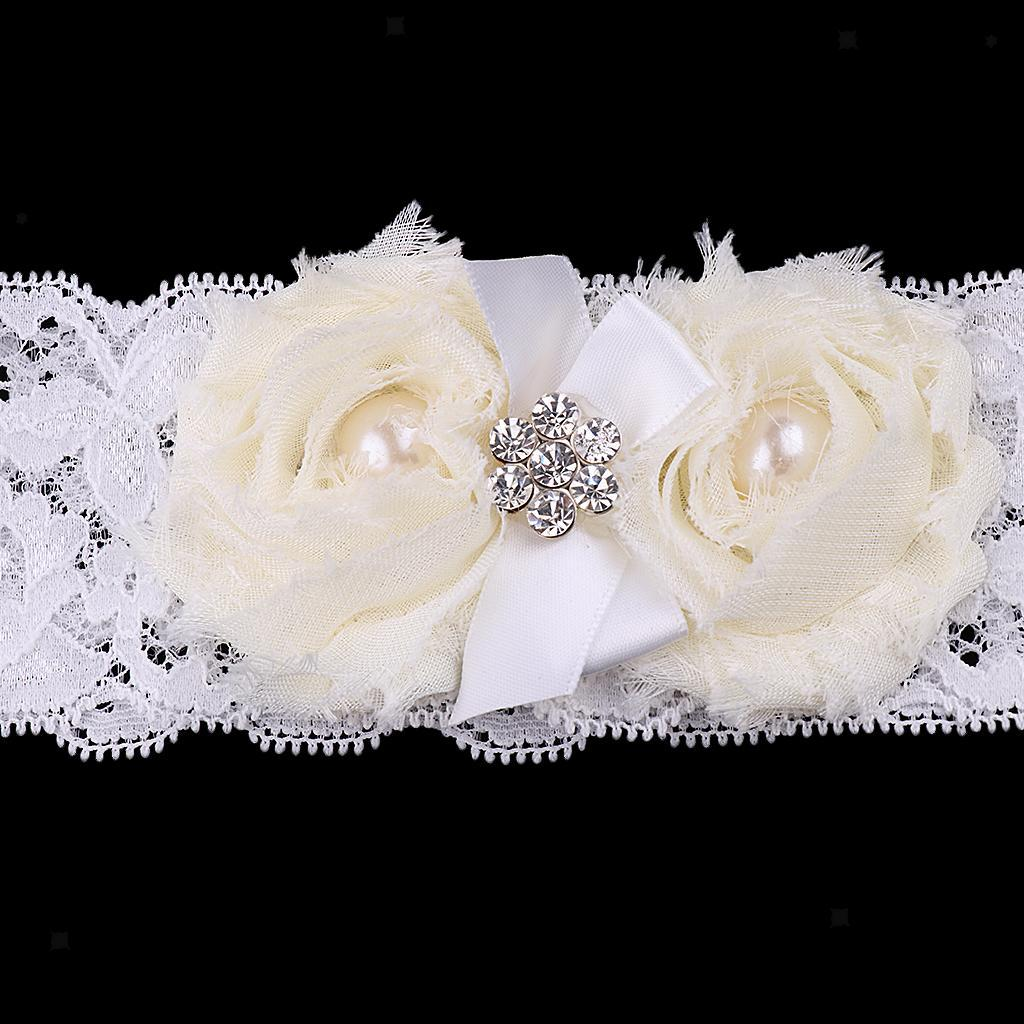 Wedding-Bride-Keepsake-Lace-Pearl-Crystal-Rose-Flower-Bridal-Garter-White-Brown thumbnail 7