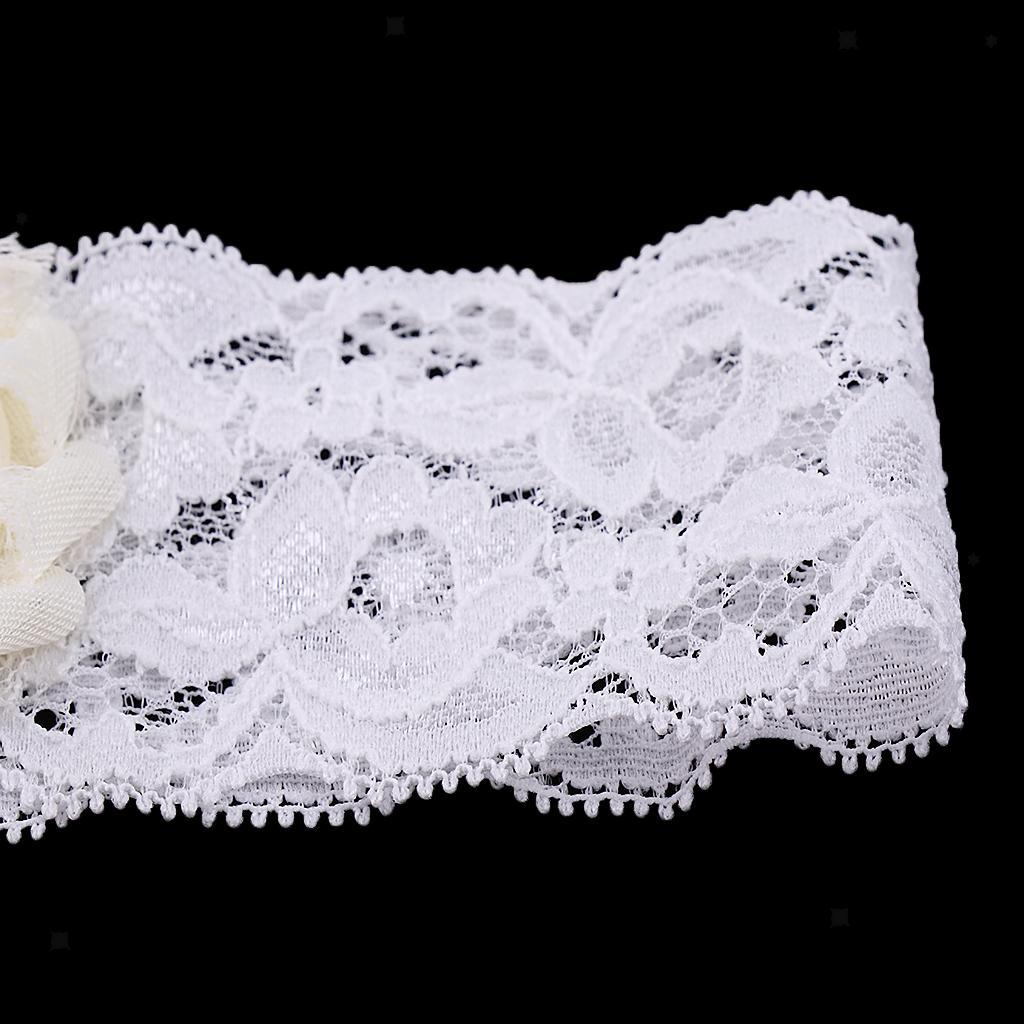 Wedding-Bride-Keepsake-Lace-Pearl-Crystal-Rose-Flower-Bridal-Garter-White-Brown thumbnail 8