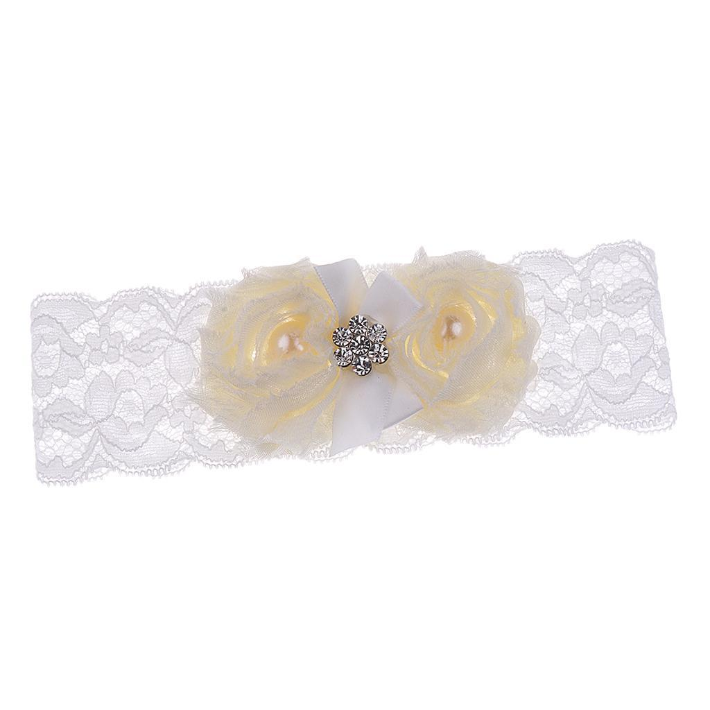 Wedding-Bride-Keepsake-Lace-Pearl-Crystal-Rose-Flower-Bridal-Garter-White-Brown thumbnail 9