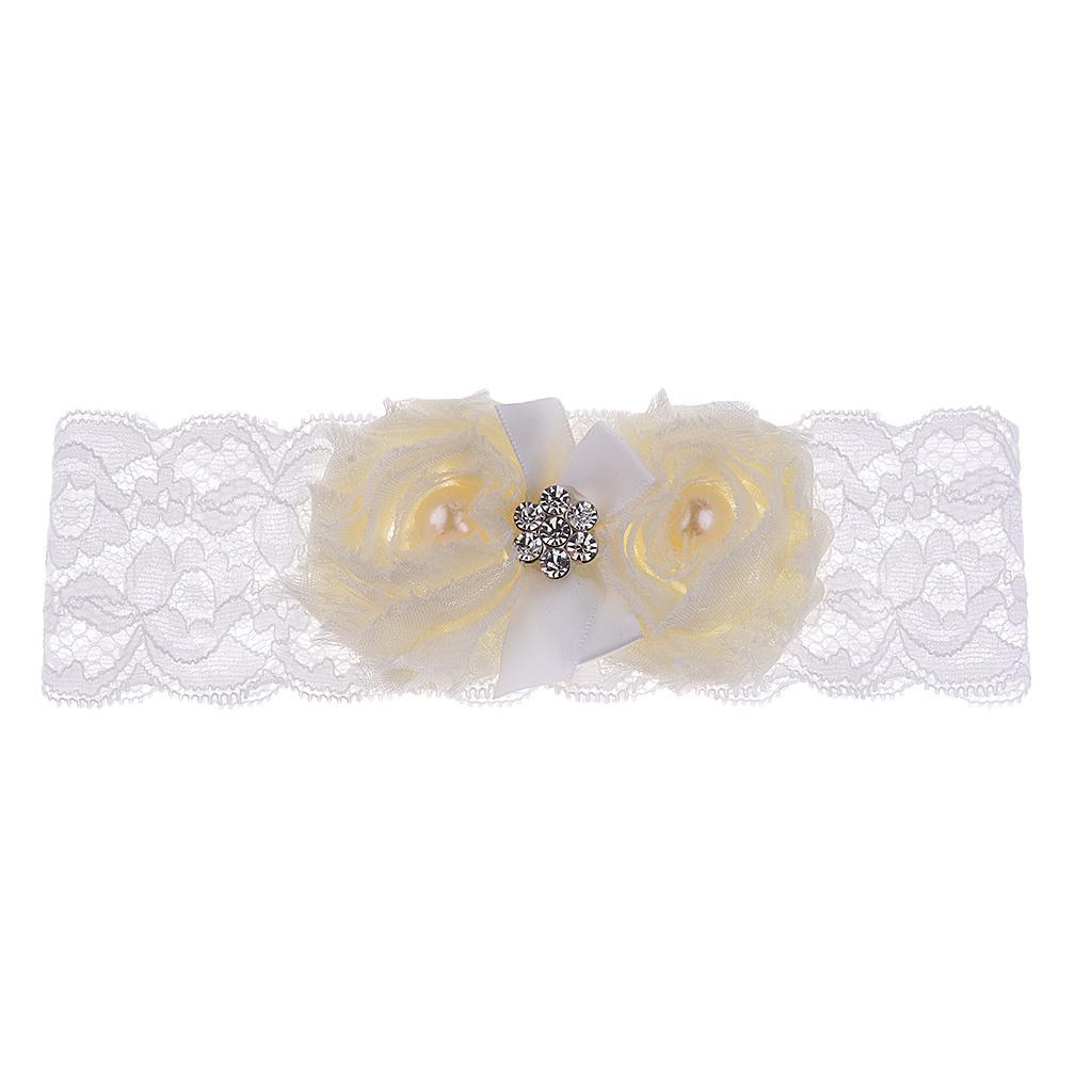 Wedding-Bride-Keepsake-Lace-Pearl-Crystal-Rose-Flower-Bridal-Garter-White-Brown thumbnail 3