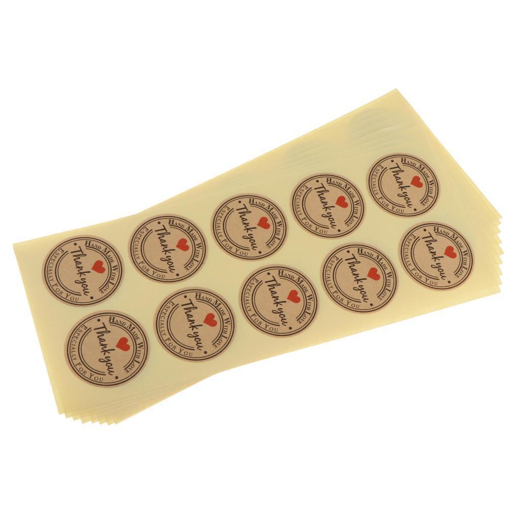 50 Sheets Kraft Paper Thank You Card Christmas Gift: 9 Sheets Kraft Paper Thank You Sealing Sticker Food Bag