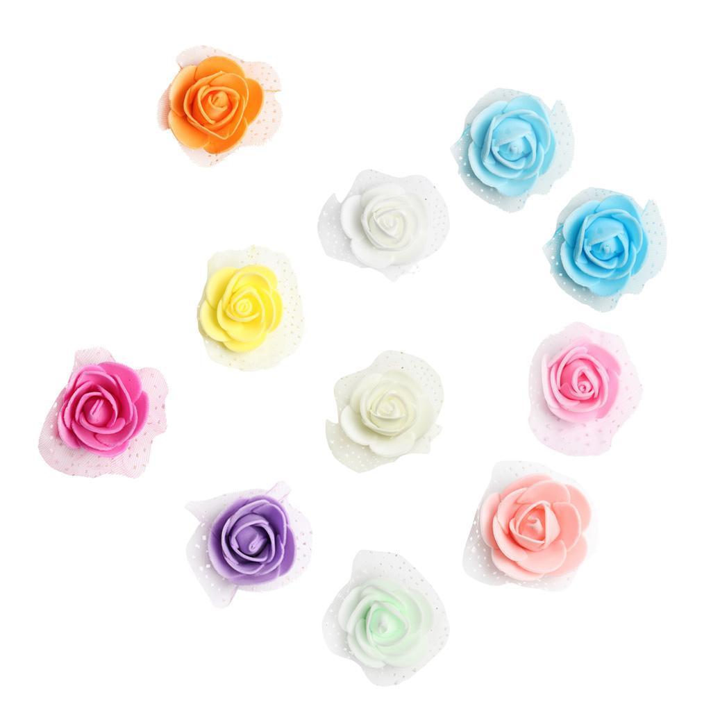 100-Pieces-Romantique-Mousse-Artificielle-Rose-Tete-Fleurs-De-Mariage miniature 31