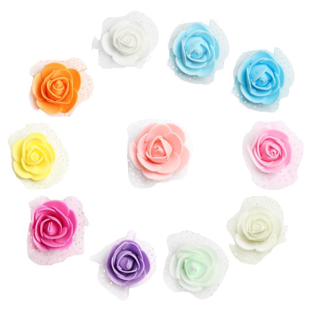 100-Pieces-Romantique-Mousse-Artificielle-Rose-Tete-Fleurs-De-Mariage miniature 30